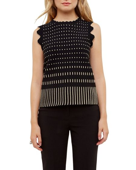 Ted Baker Anyabel jacquard scalloped top