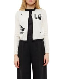 Ted Baker Scarlie Contrast Rose Embroidered Cardigan