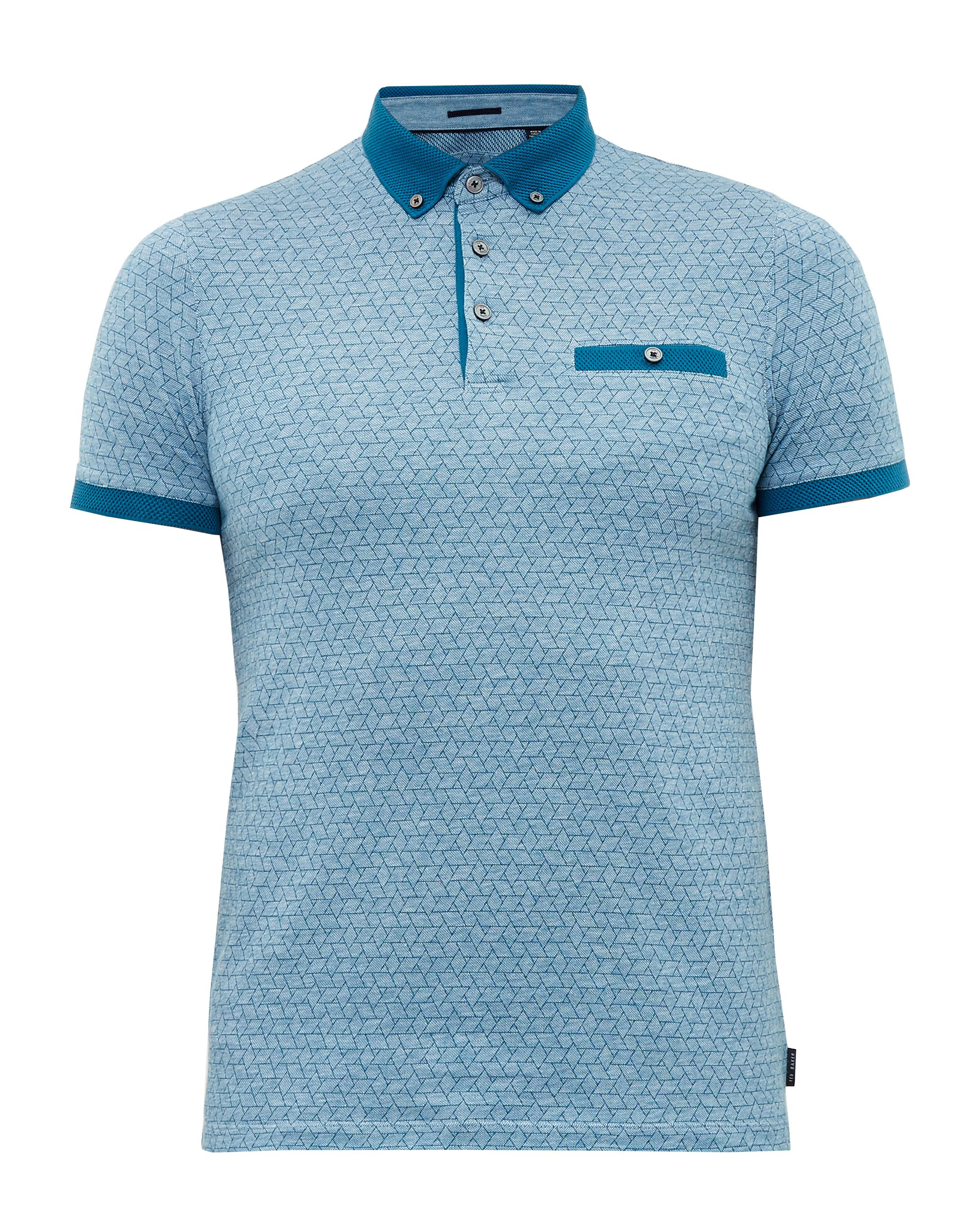 Mens Ted Baker Collin Geo Print Cotton Polo Shirt Turquoise