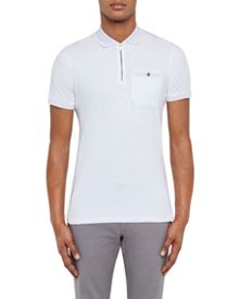 Ted Baker Cook Zip Up Polka Dot Trim Polo