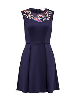 Lavensa Folk Foliage skater dress