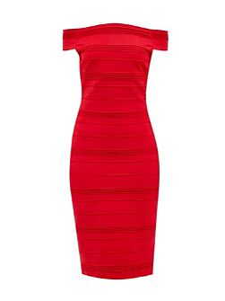 Inan Textured Bardot midi dress