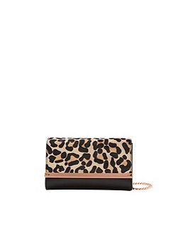 Leeza Leopard print leather cross body bag