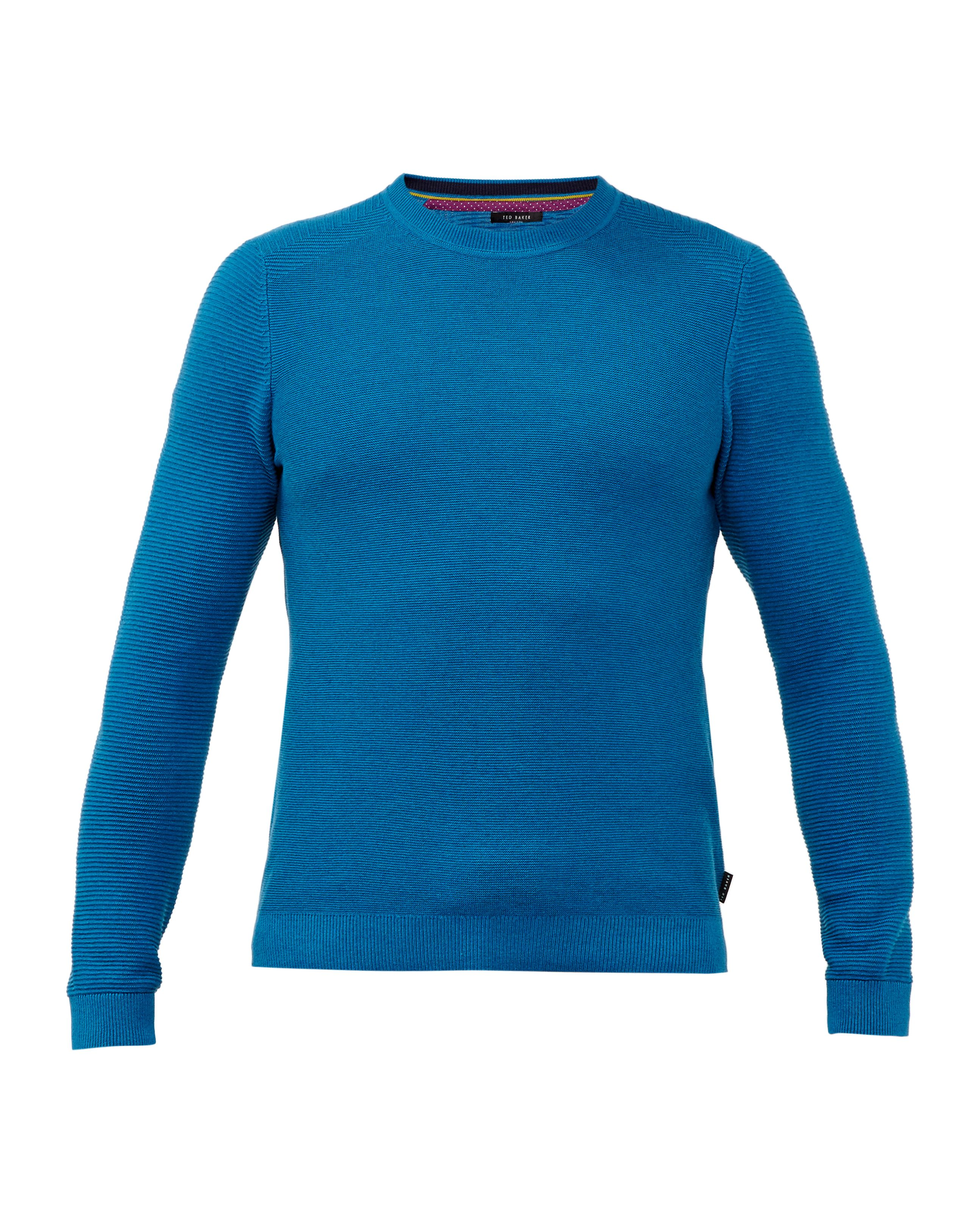 Mens Ted Baker Marlin Textured Crew Neck Jumper Turquoise