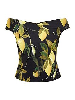 Tiffi Citrus Vine Bardot Top