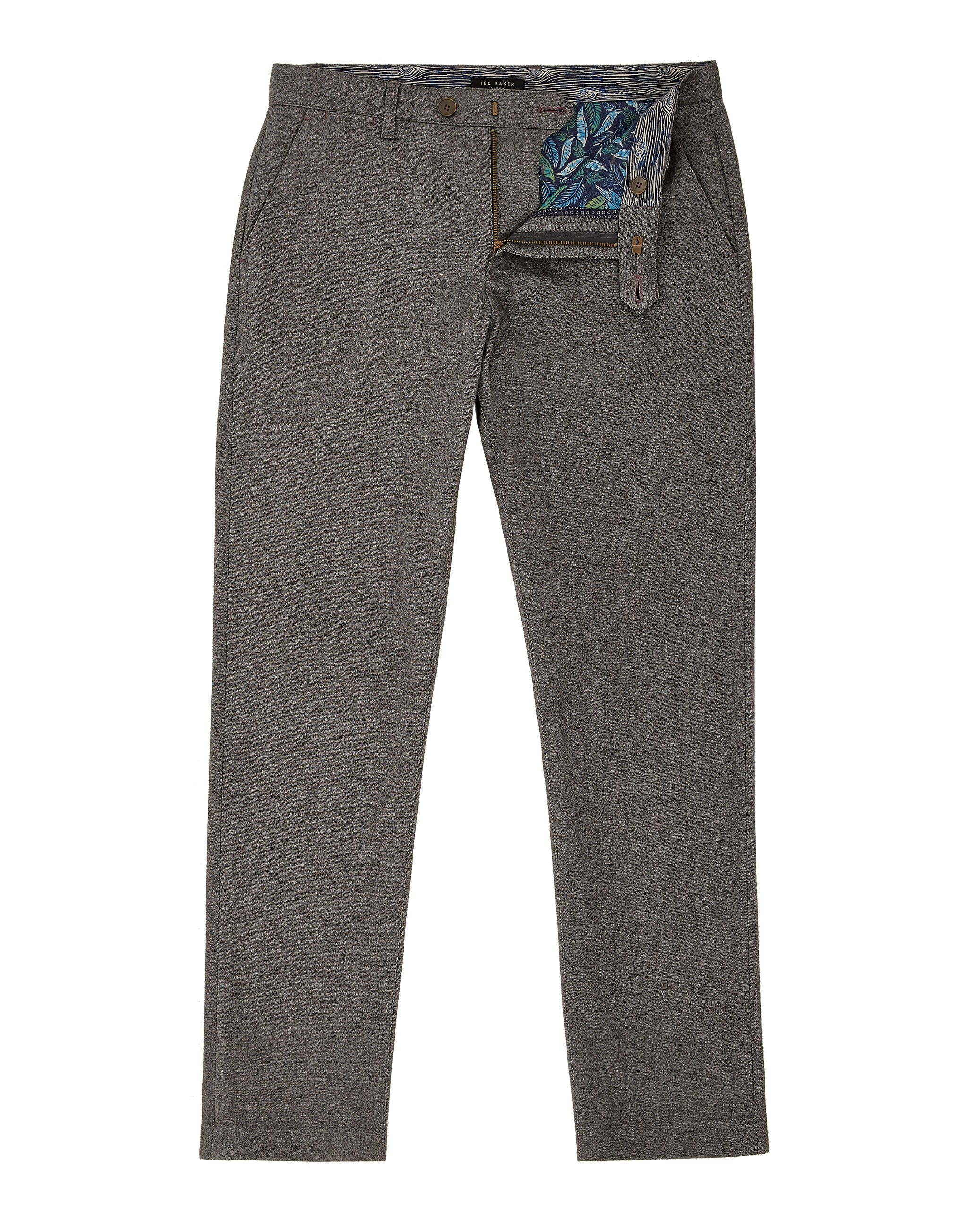 Mens Ted Baker Classy Classic Fit Cotton Trousers Charcoal