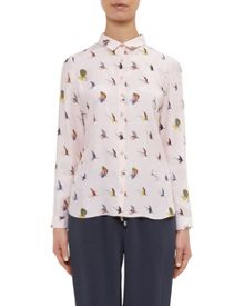 Ted Baker Zahlee Fly fish print silk shirt