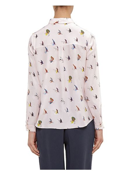 Ted baker zahlee fly fish print silk shirt pink house of for Fish print shirt