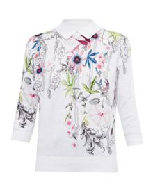 Ted Baker Kikka Passion Flower cotton collared jumper