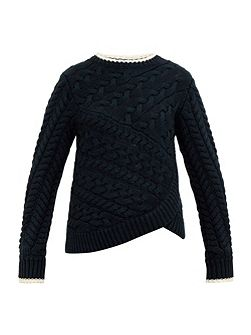 Charo Asymmetric cable knit jumper