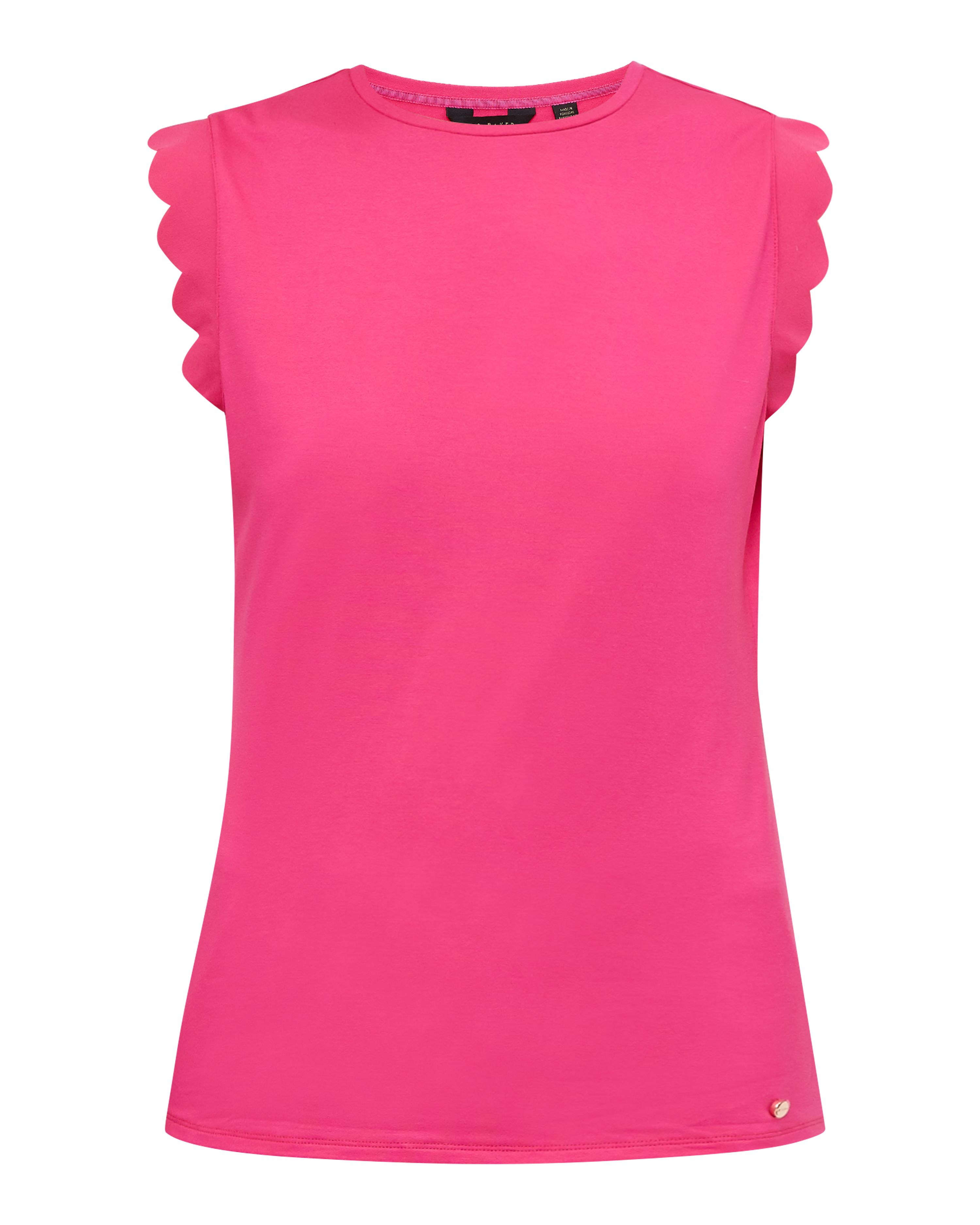 Ted Baker Elliah Scallop Detail Fitted T-Shirt, Fuchsia