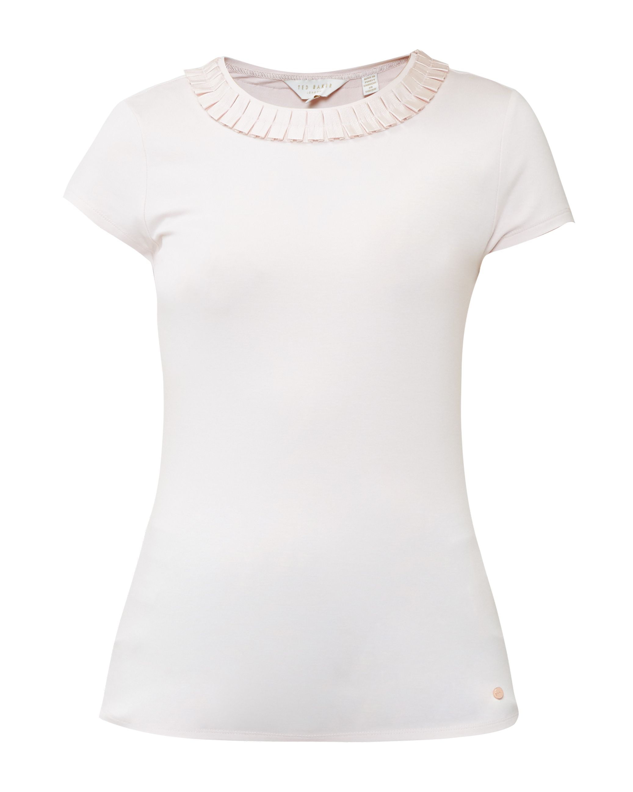 Ted Baker Sillia Frill Neck Fitted T-Shirt, Pastel Pink