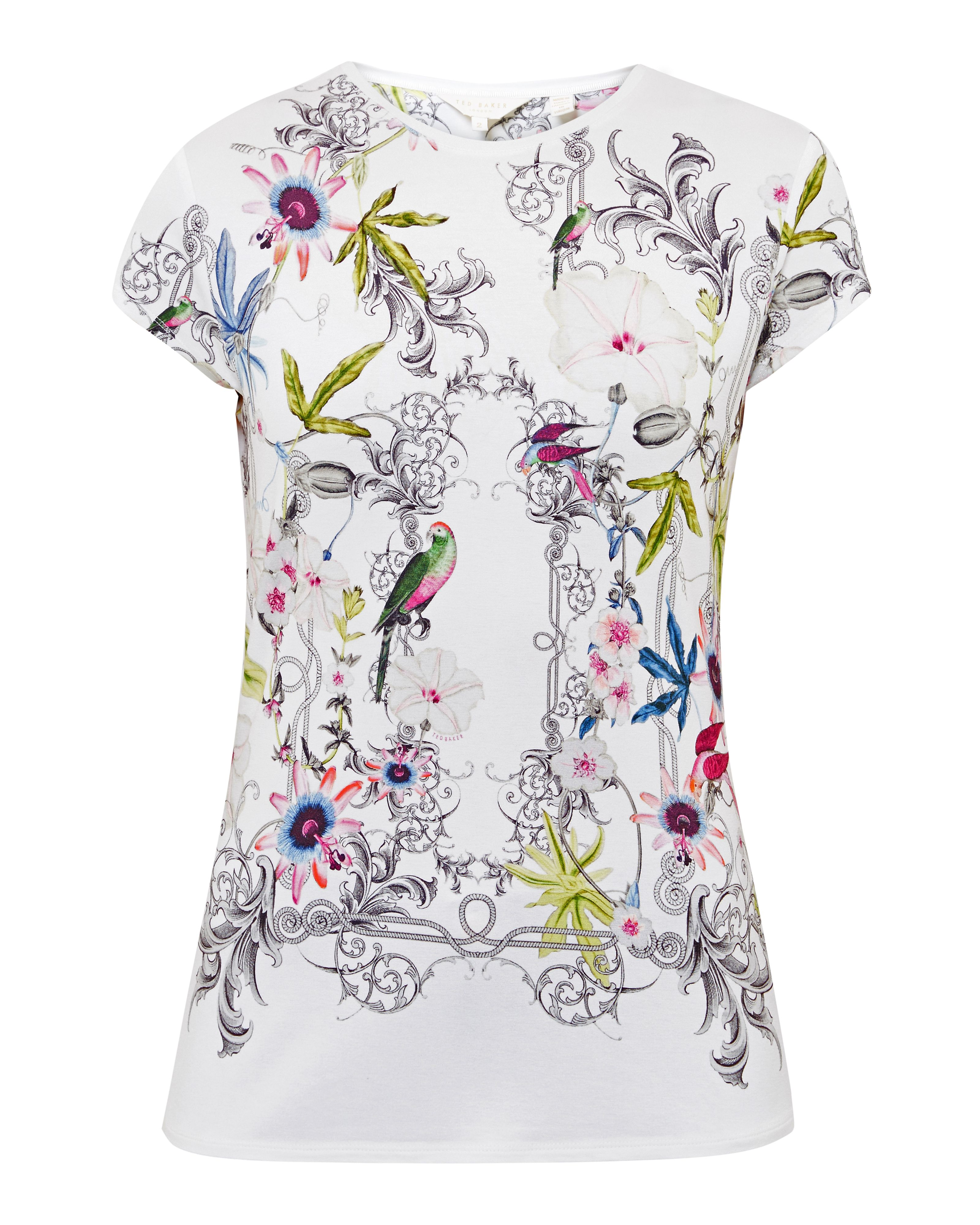 Ted Baker Hazelto Passion Flower fitted Tshirt Ivory
