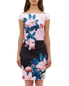 Ted Baker Wuana Orchid Wonderland Bardot dress