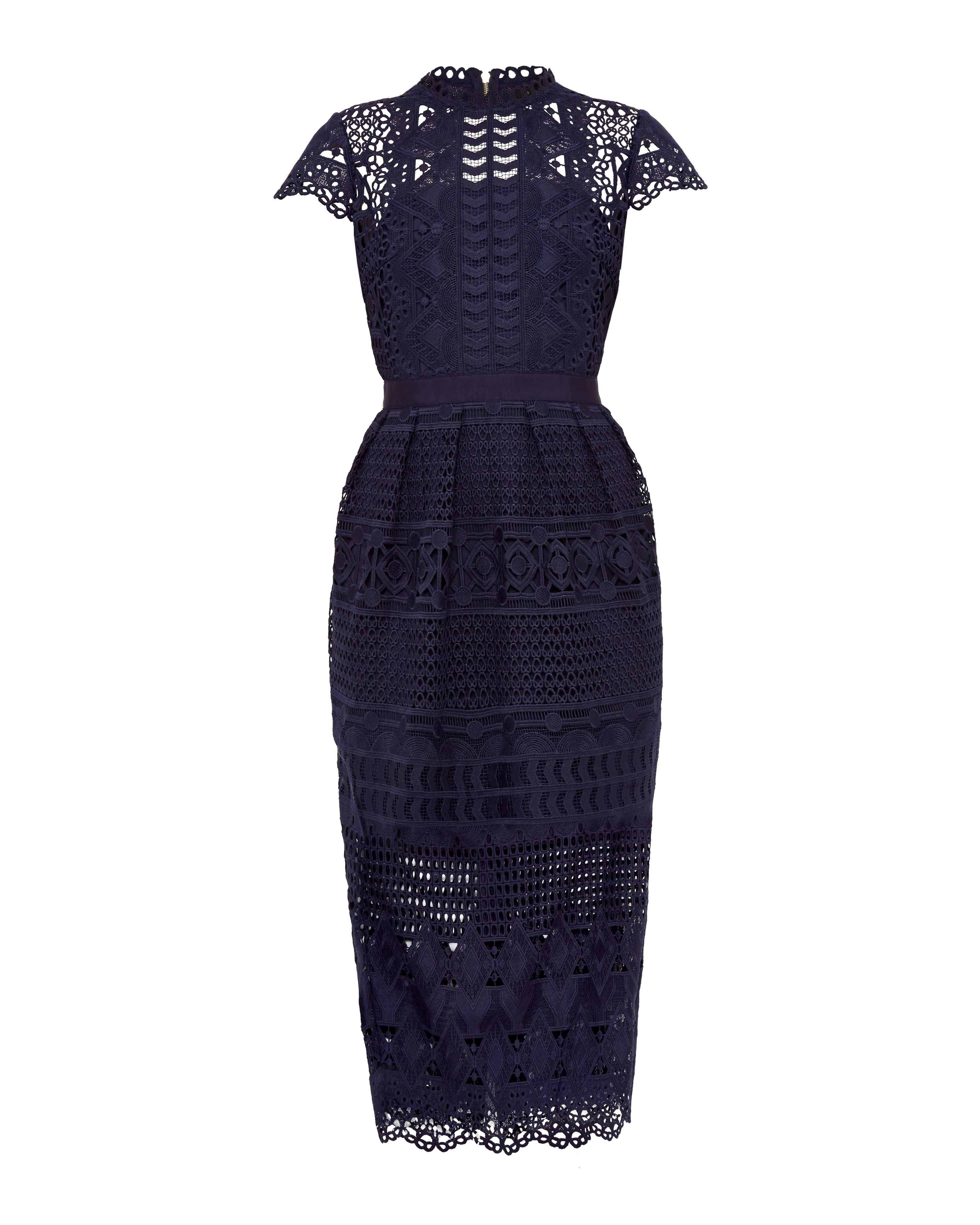 Ted Baker Emelia Scalloped Lace Tulip Dress Navy