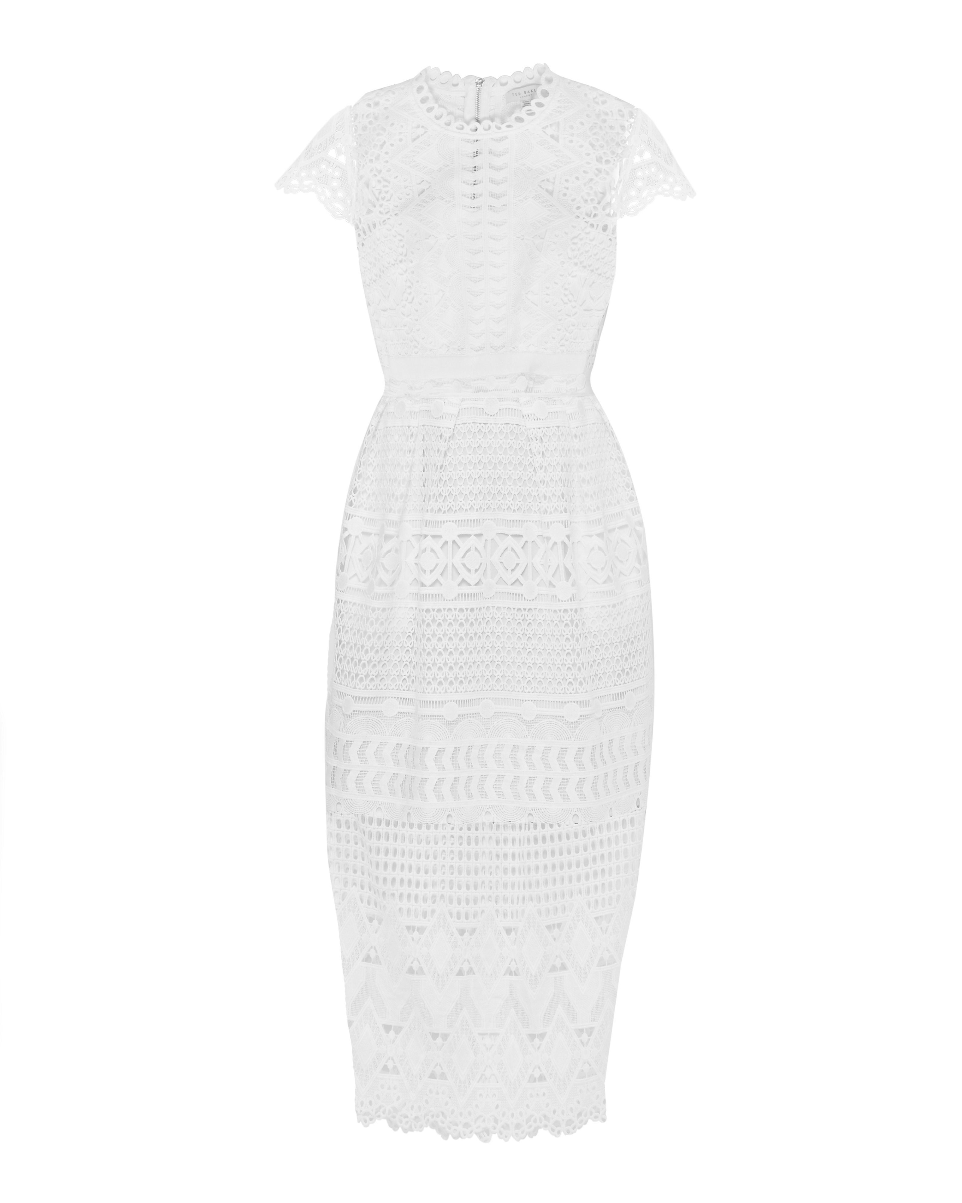 Ted Baker Emelia Scalloped Lace Tulip Dress White