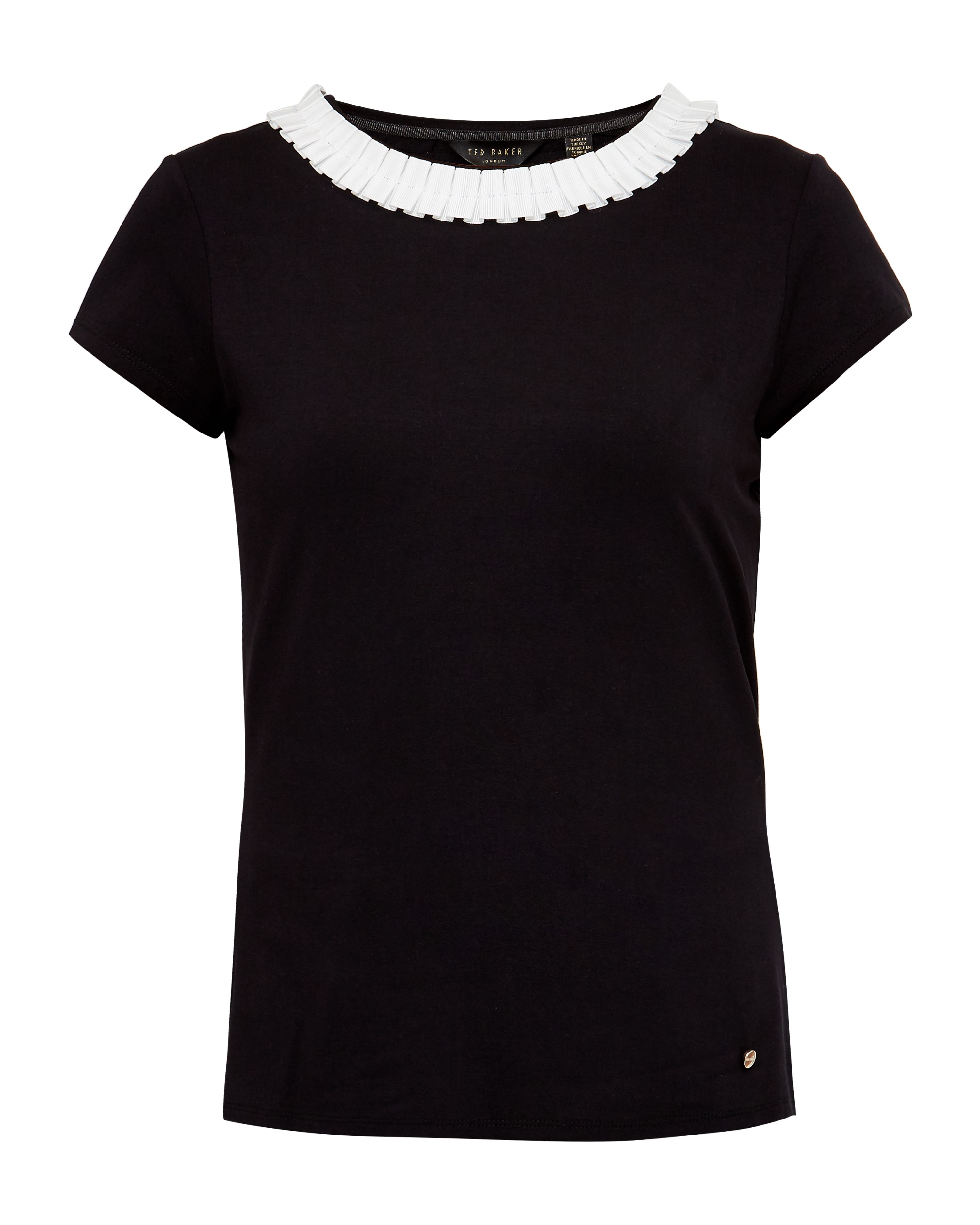 Ted Baker Sillia Frill neck fitted T-shirt, Black