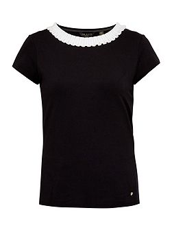 Sillia Frill neck fitted T-shirt
