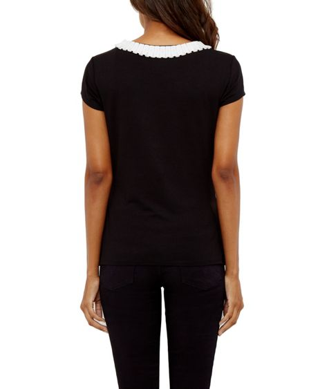 Ted Baker Sillia Frill neck fitted T-shirt