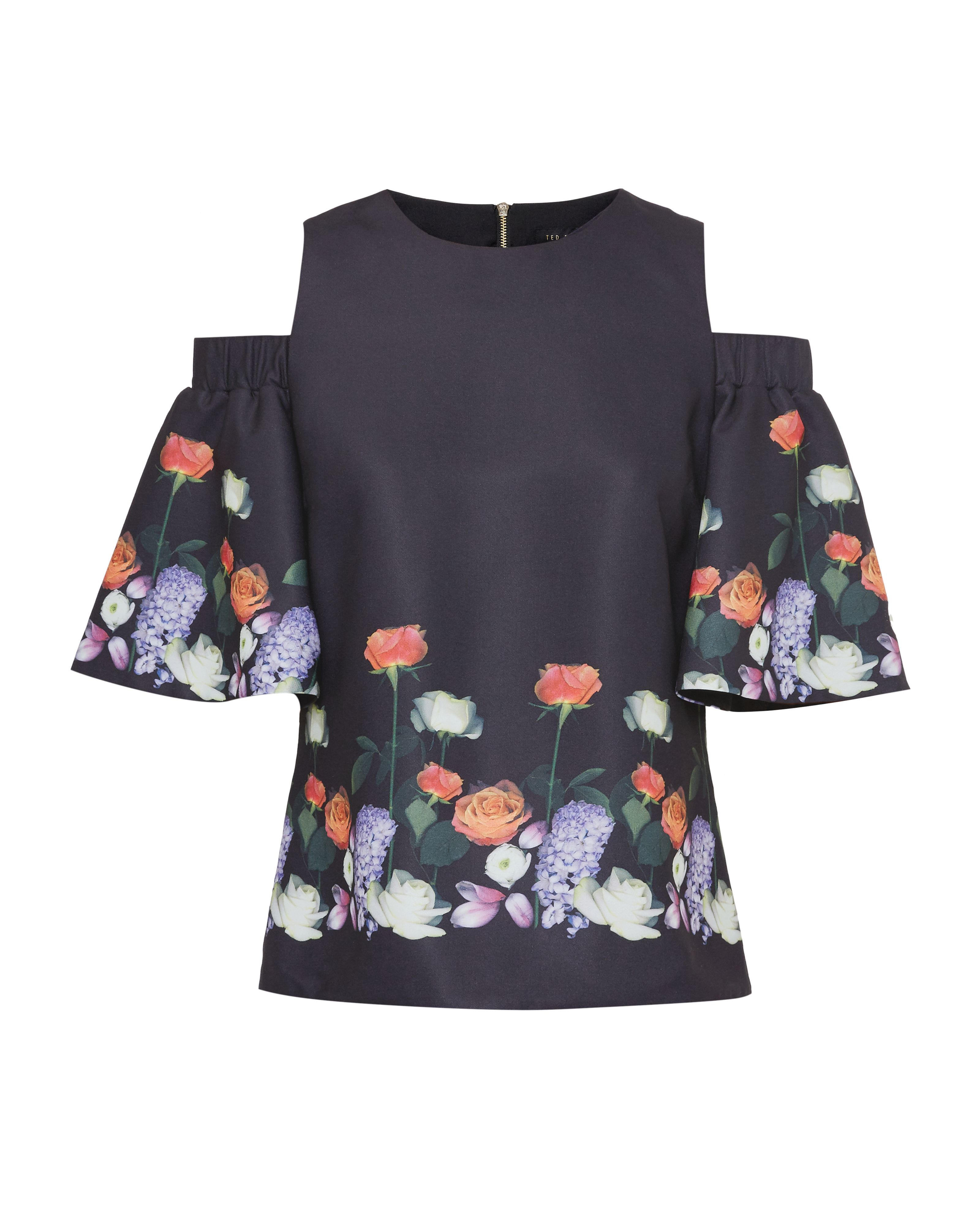 Ted Baker Amarga Kensington Floral Cut-Out Shoulder Top, Black