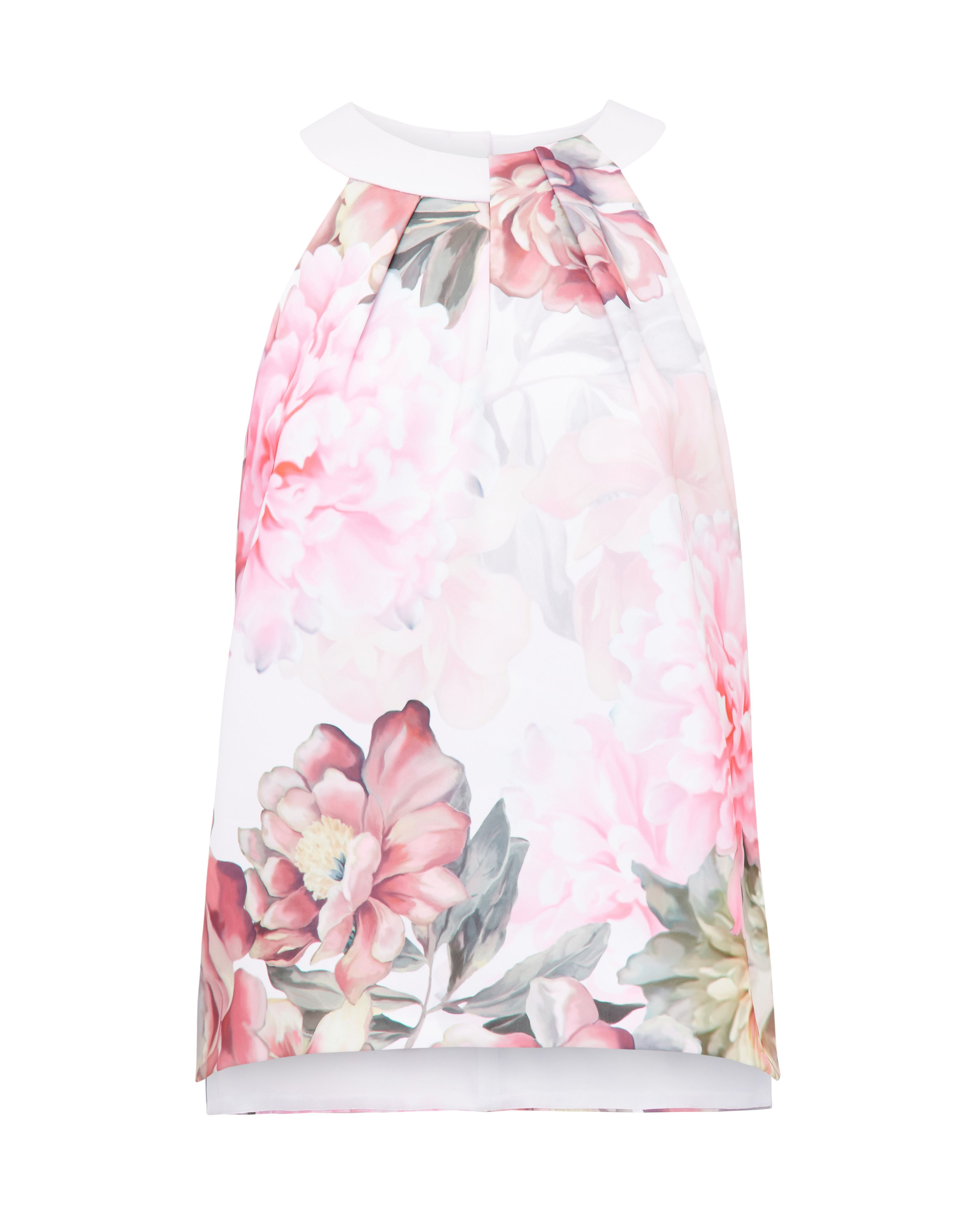 Ted Baker Chelle Painted Posie Twist Neck Top, Pastel Pink
