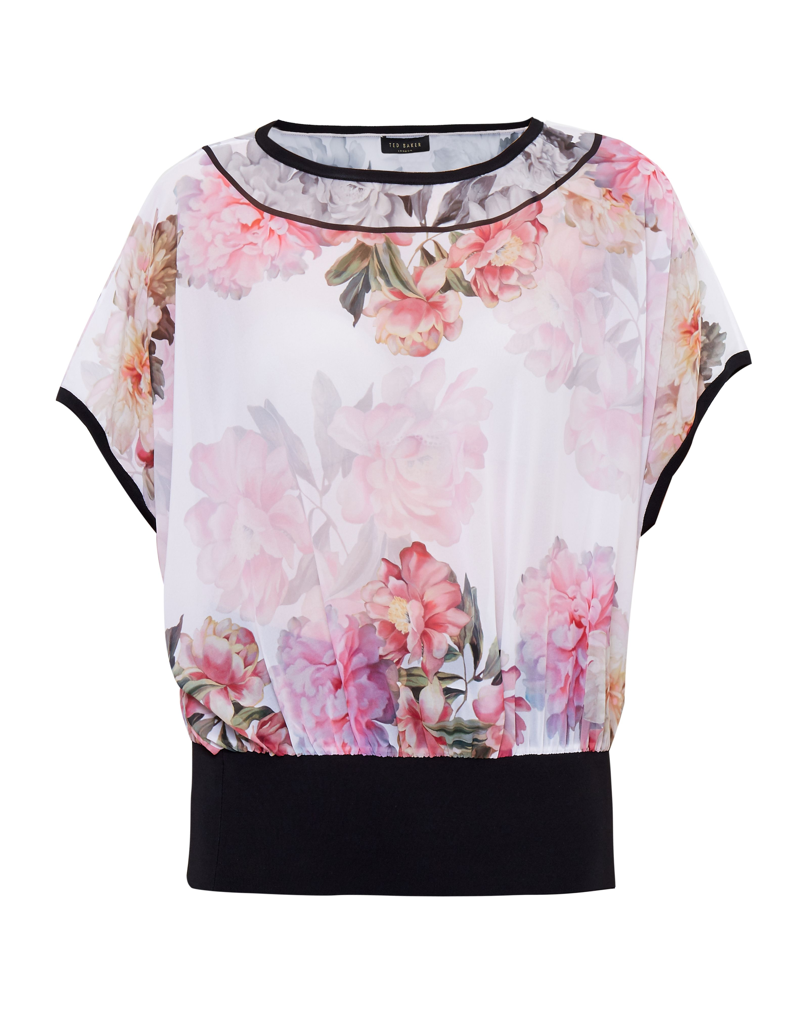 Ted Baker Fitsay Painted Posie Top, Pastel Pink