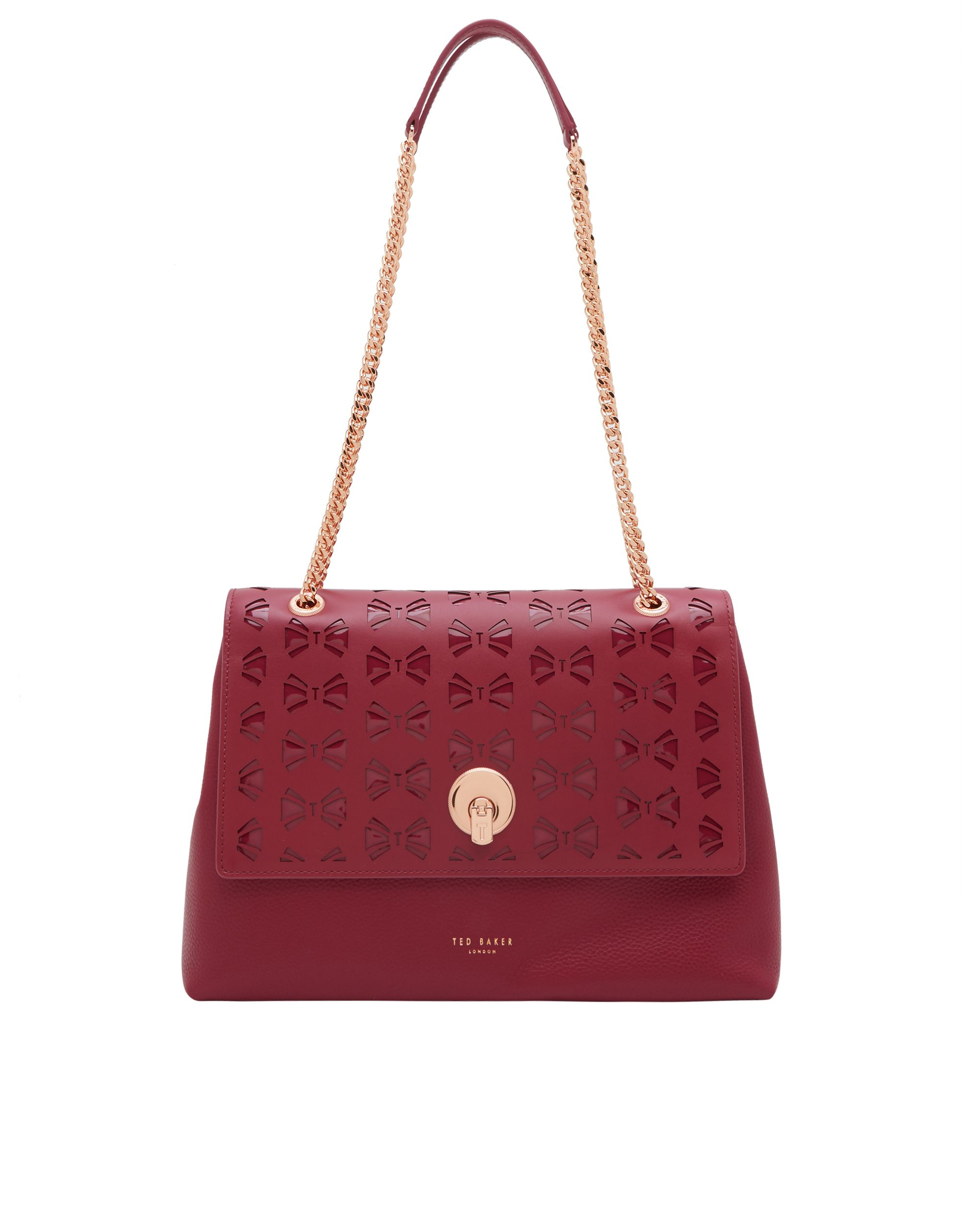 Ted Baker Maisyy Cutout circle lock leather shoulder bag Red