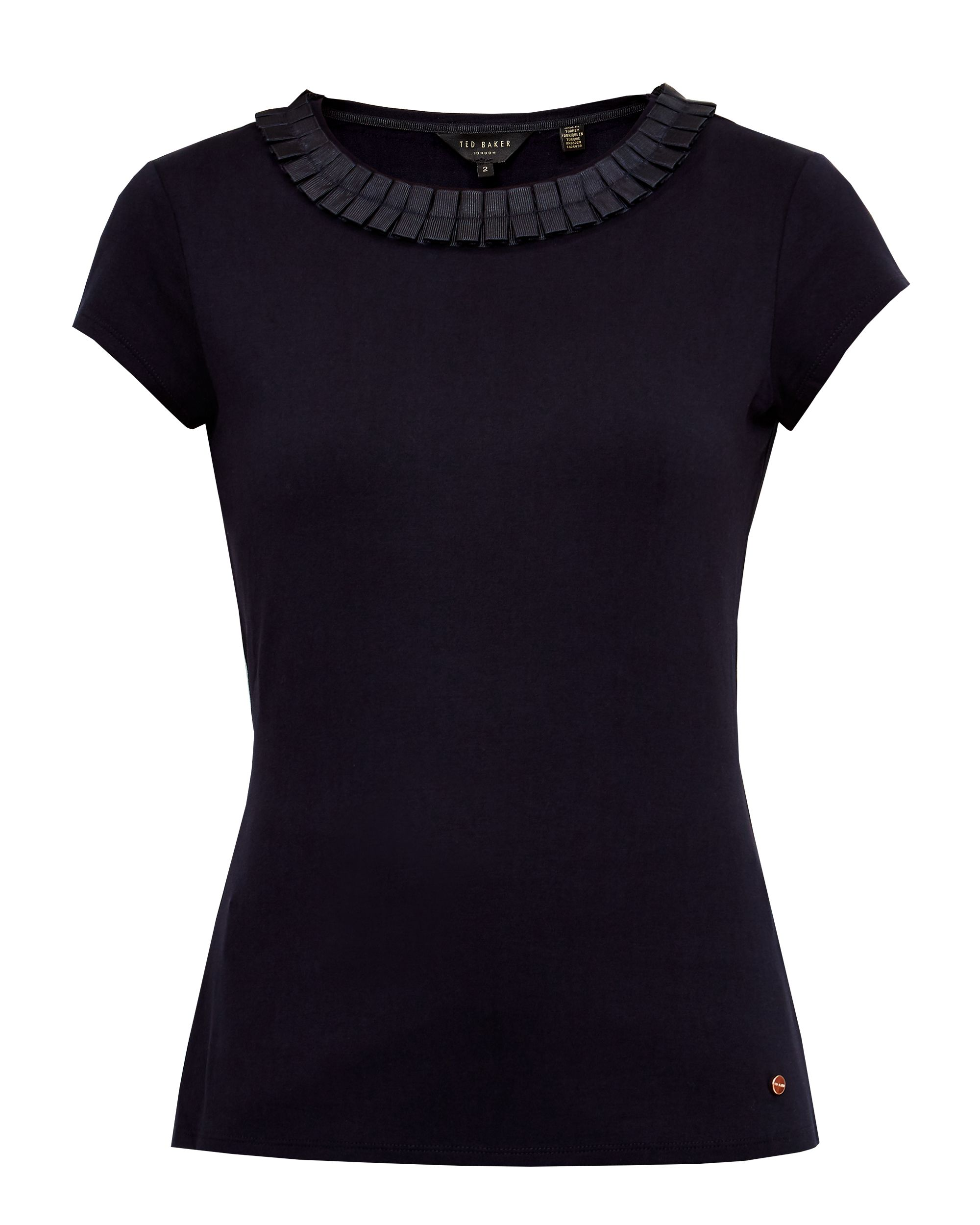Ted Baker Sillia Frill neck fitted T-shirt, Dark Blue
