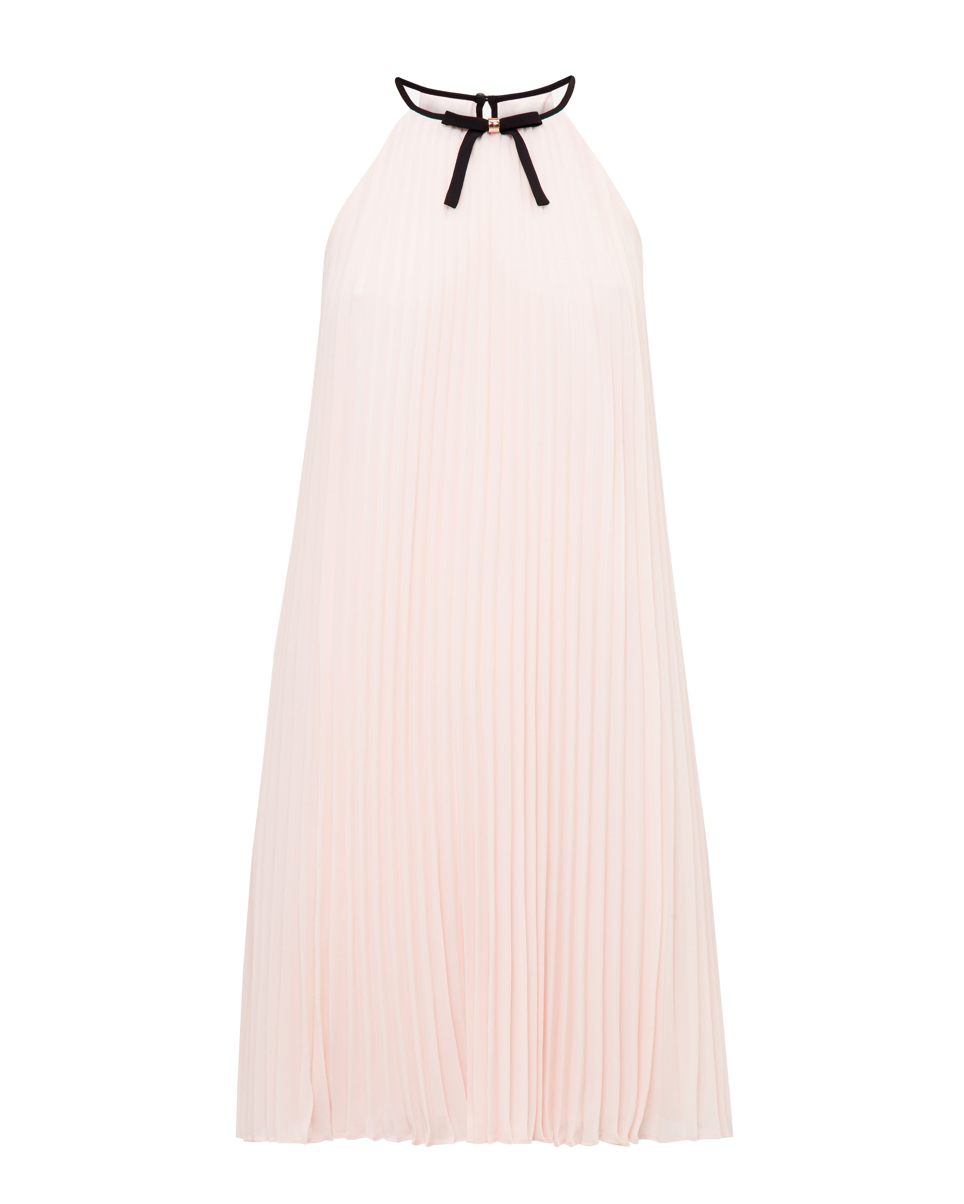 Ted Baker Emelayemelay Bow Detail Pleated A Line Dress, Pastel Pink