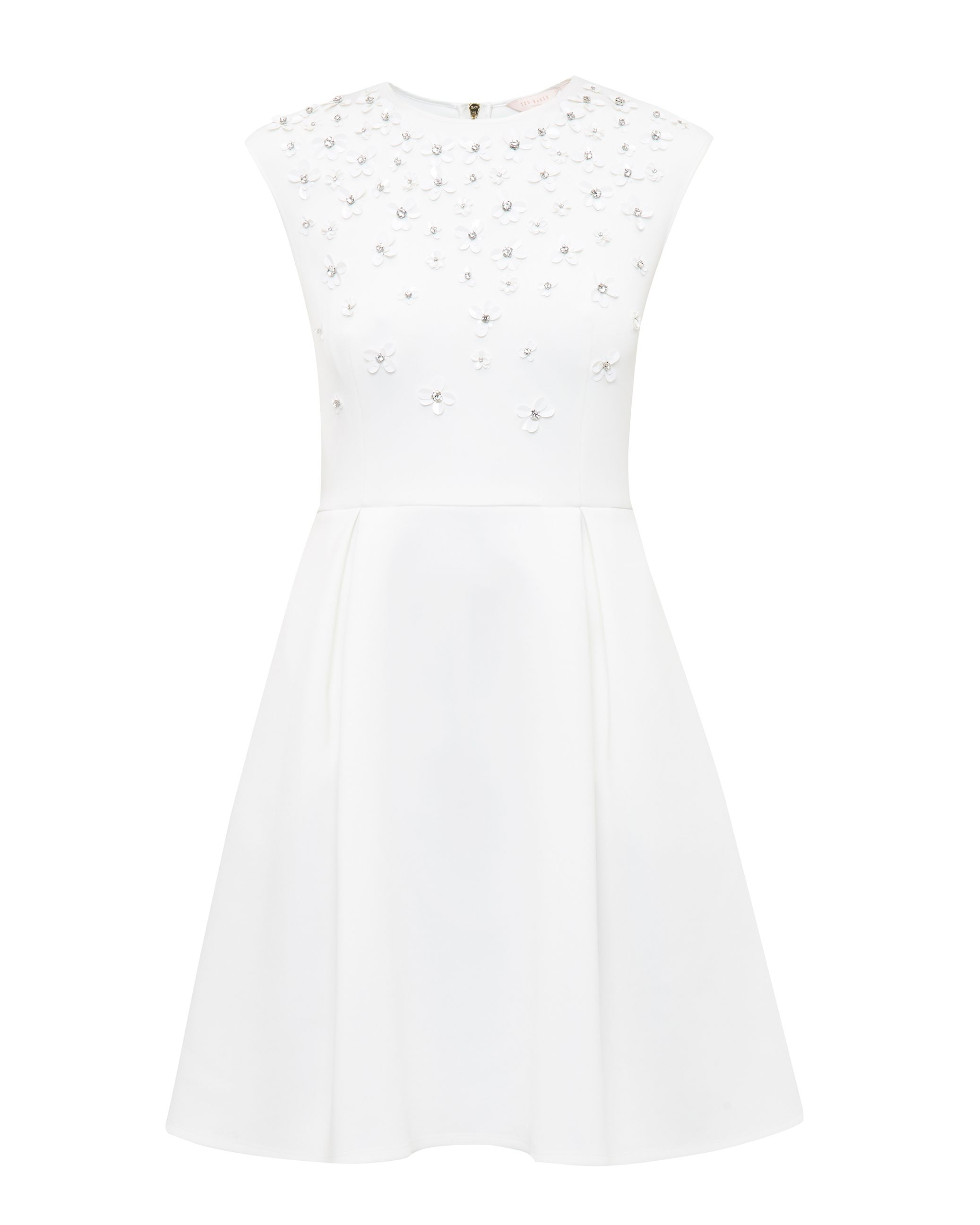 Ted Baker Yadara Embellished Skater Dress, Ecru