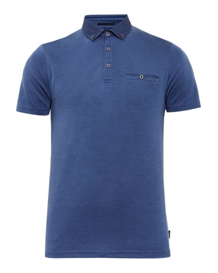 Ted Baker Rykard Woven Collar Polo Shirt