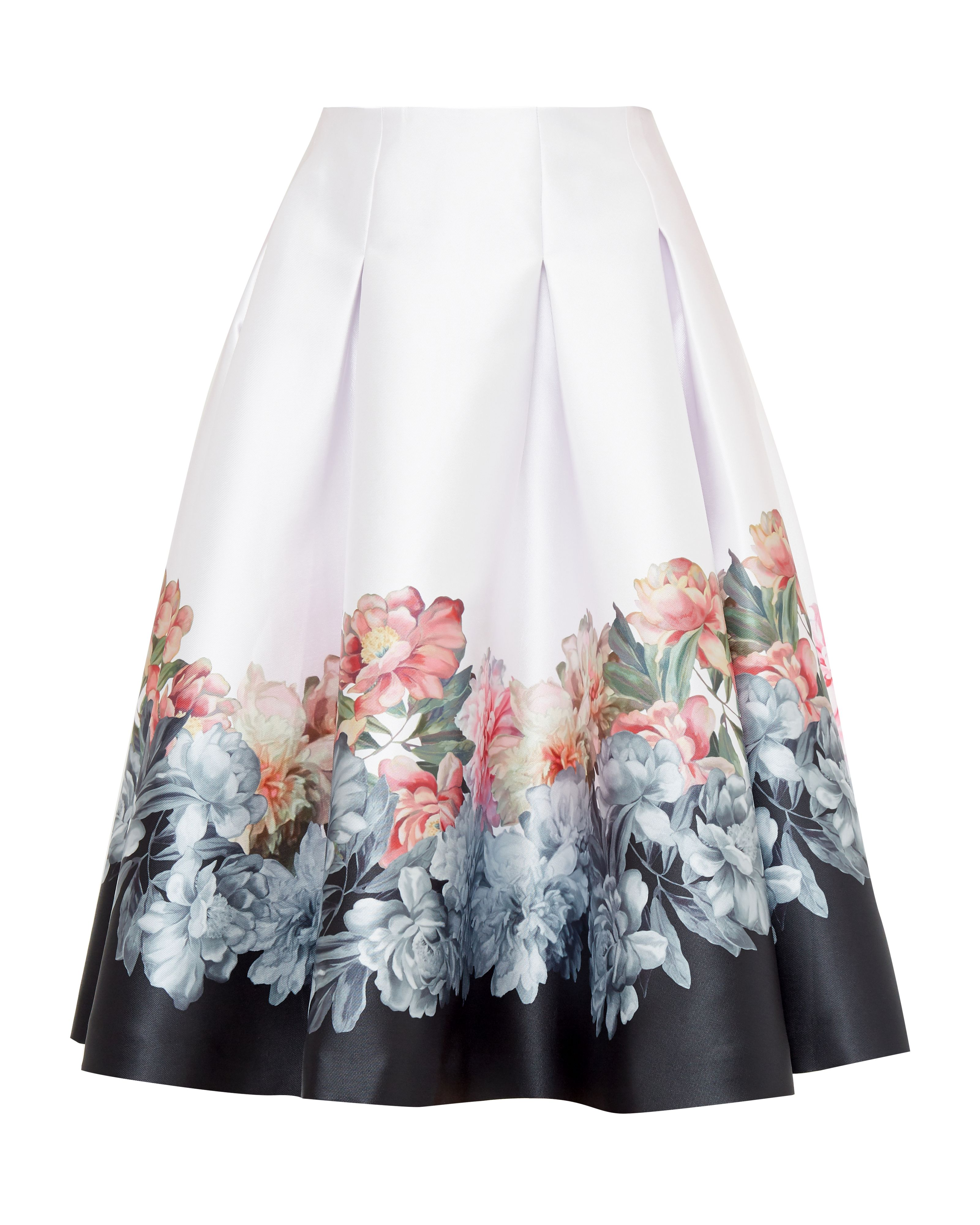 Ted Baker Celfa Painted Posie Full Pleat Skirt, Pastel Pink