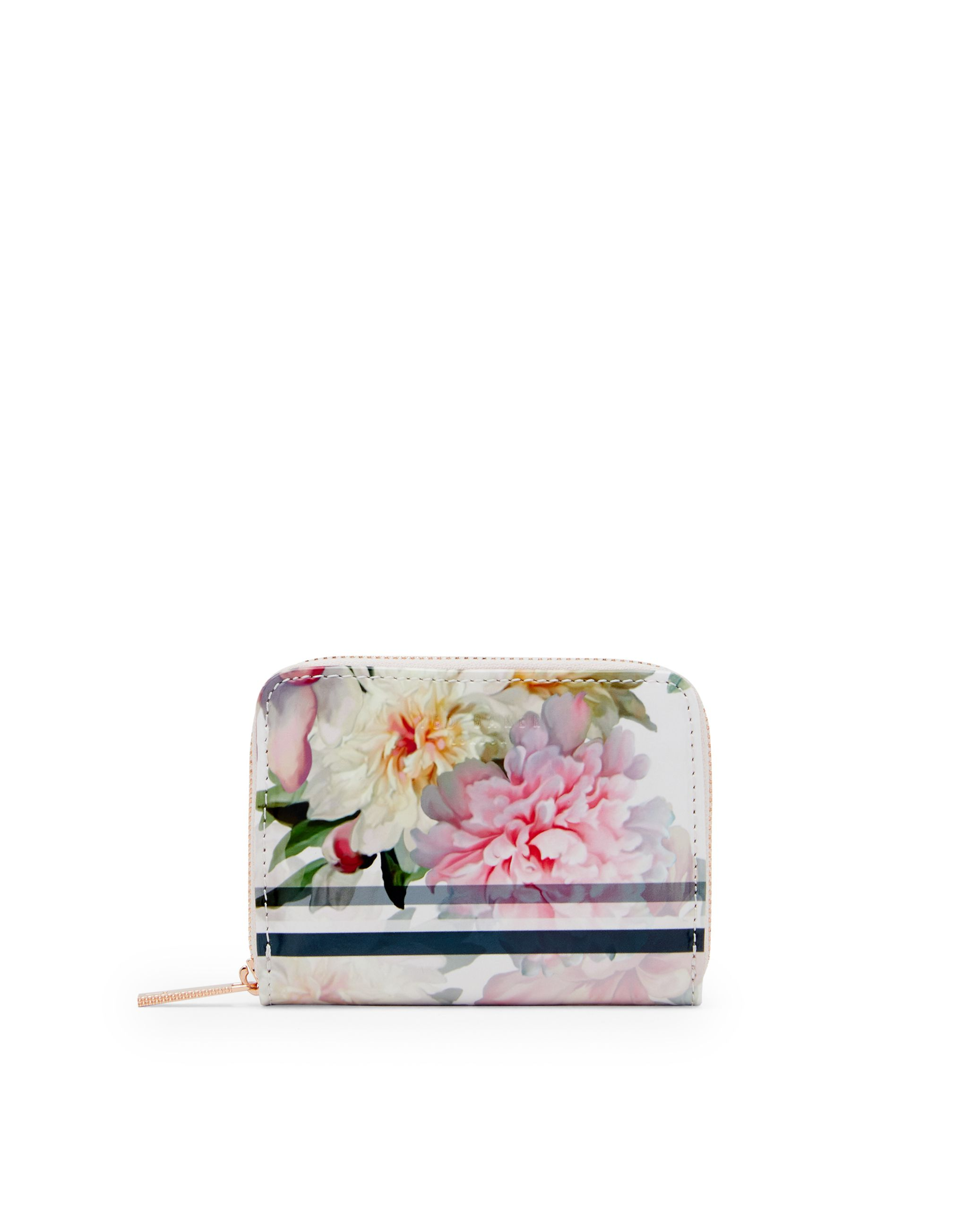 Ted Baker Joan Painted Posie Leather Coin Purse Pastel Pink