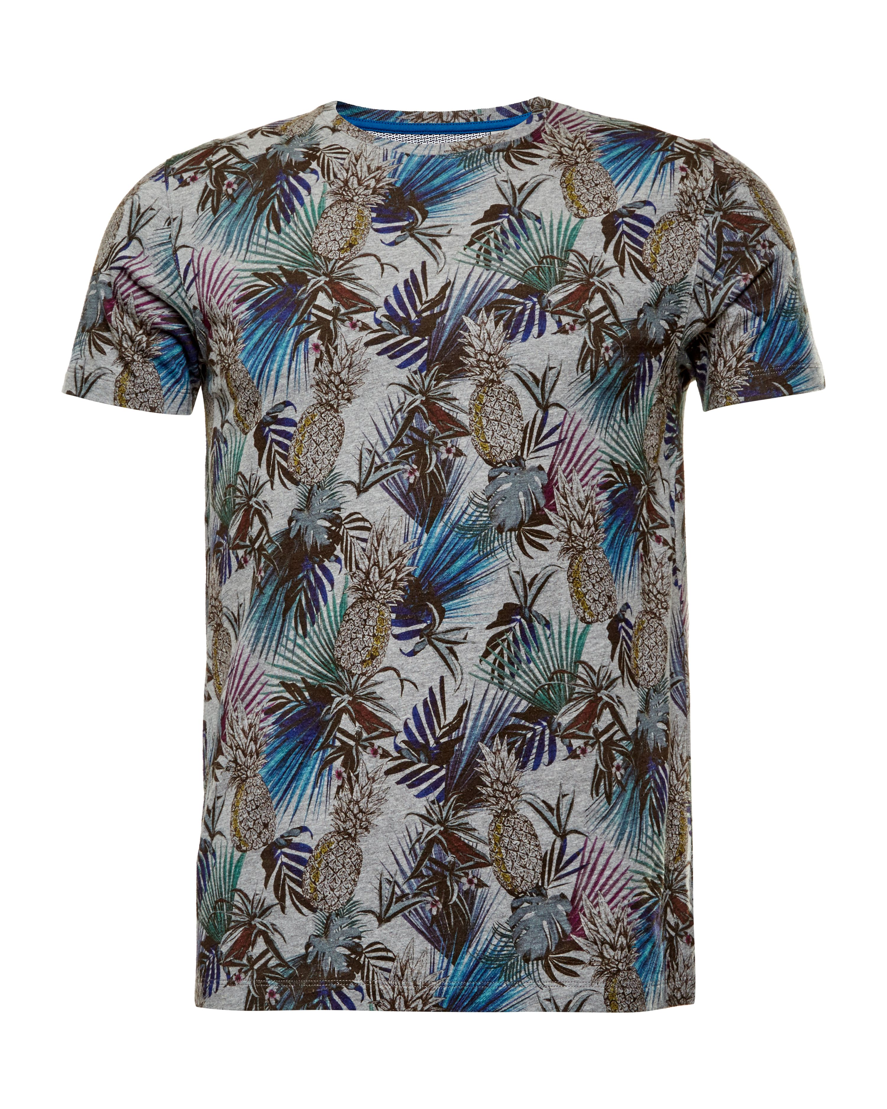 Mens Ted Baker Sutter Pineapple Print Cotton TShirt Grey Marl