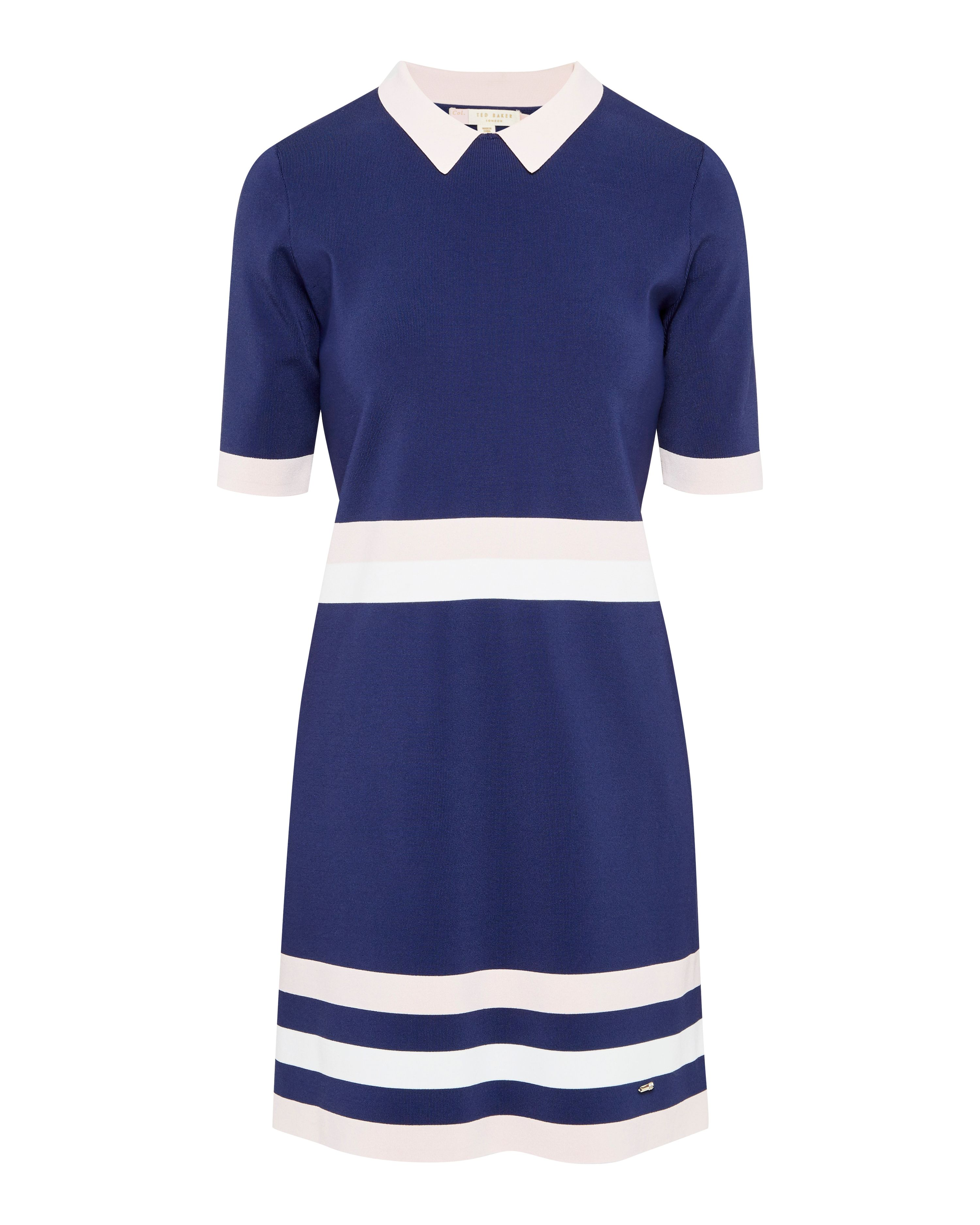 Ted Baker Origami Colour-block knitted dress, Blue
