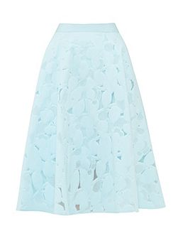 Quinia Burn Out Floral A-line Skirt