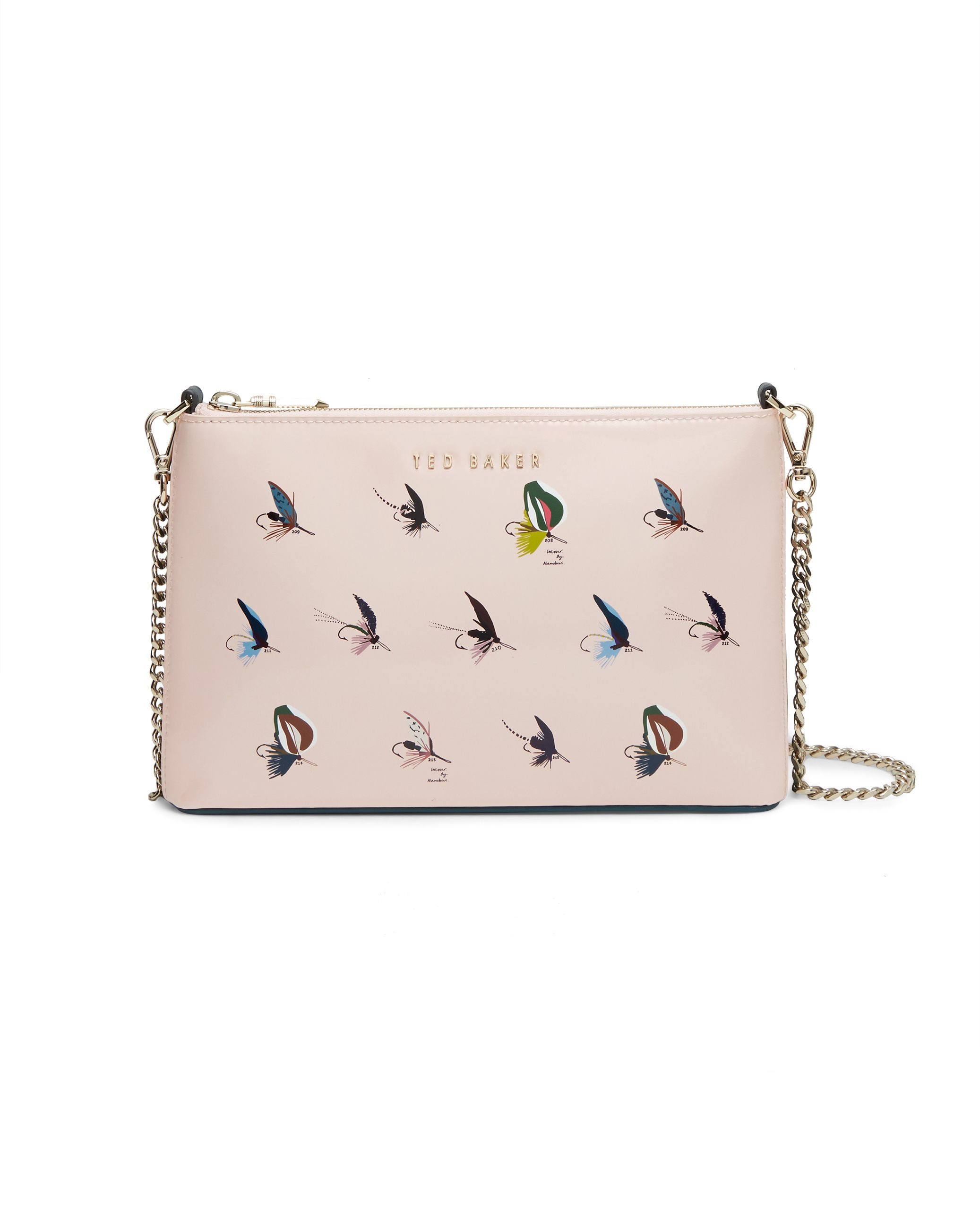 Ted Baker Conan Fly fish print leather cross body bag Pastel Pink