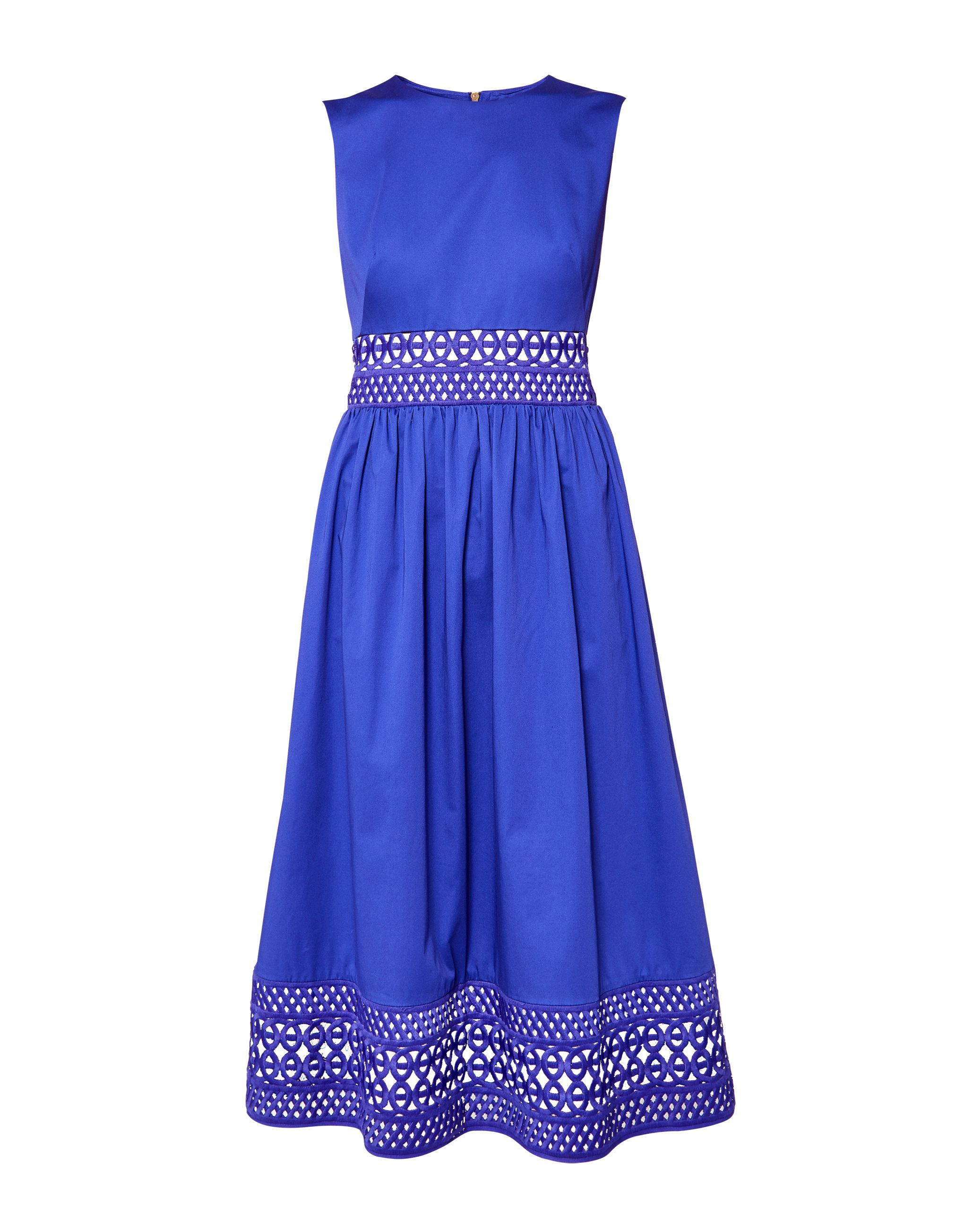 Ted Baker Tharia Cut-Out Lace Cotton Dress, Mid Blue