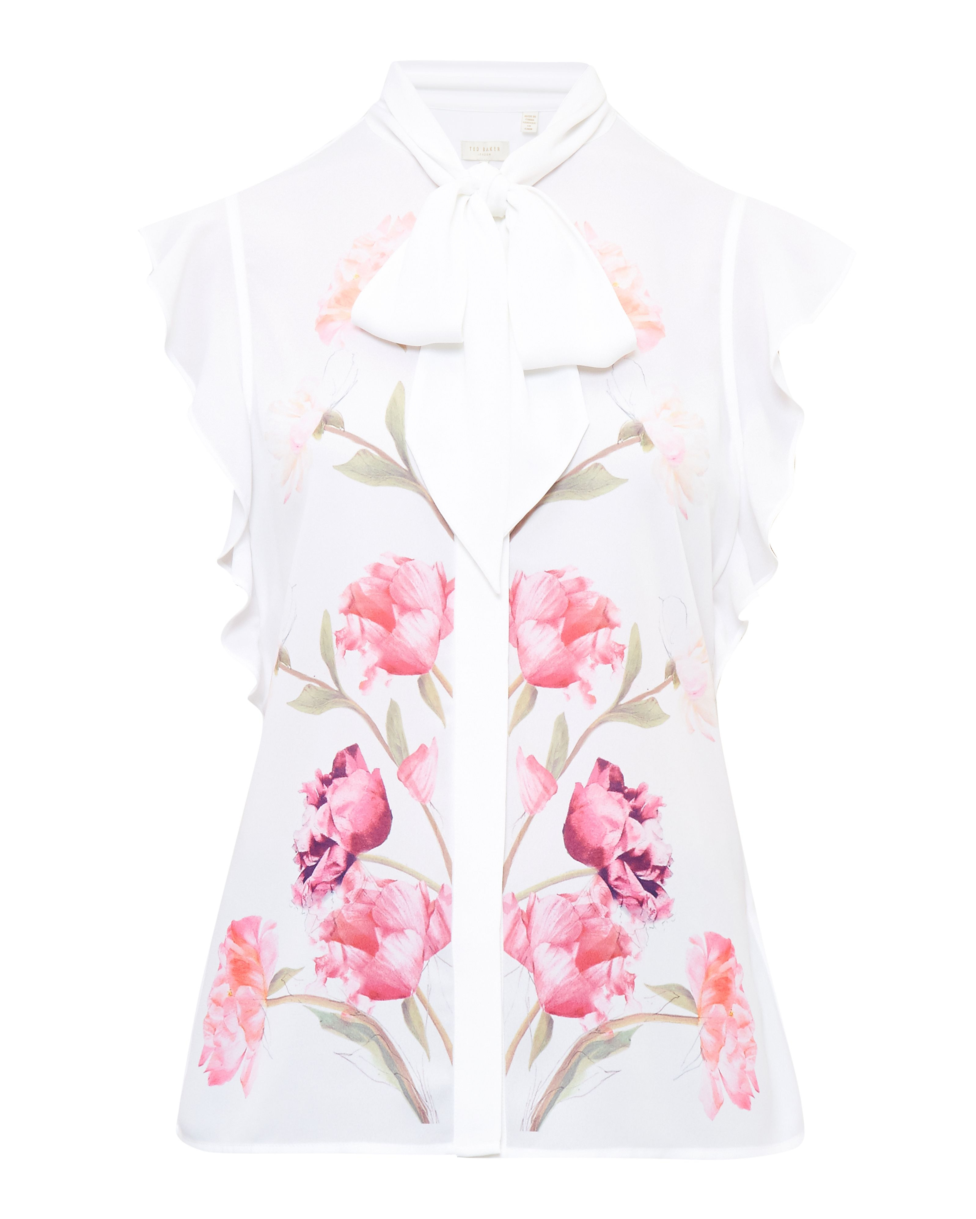 Ted Baker Brownee Sketchbook Floral Pussy Bow Blouse, Cream