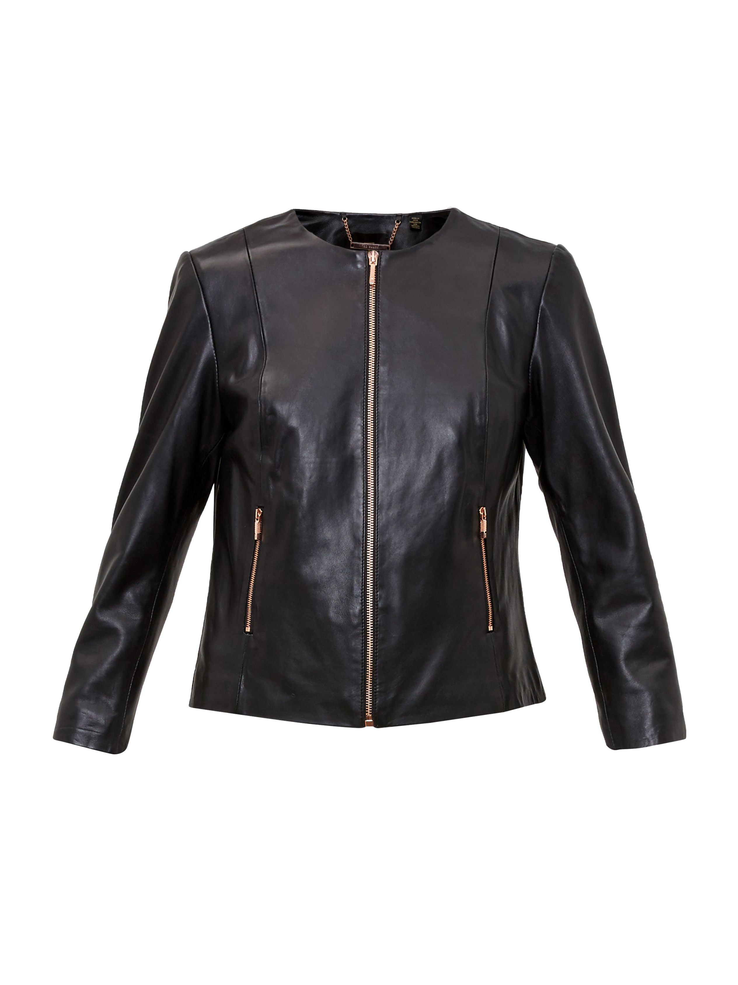 Ted Baker Fai Collarless Leather Jacket, Black
