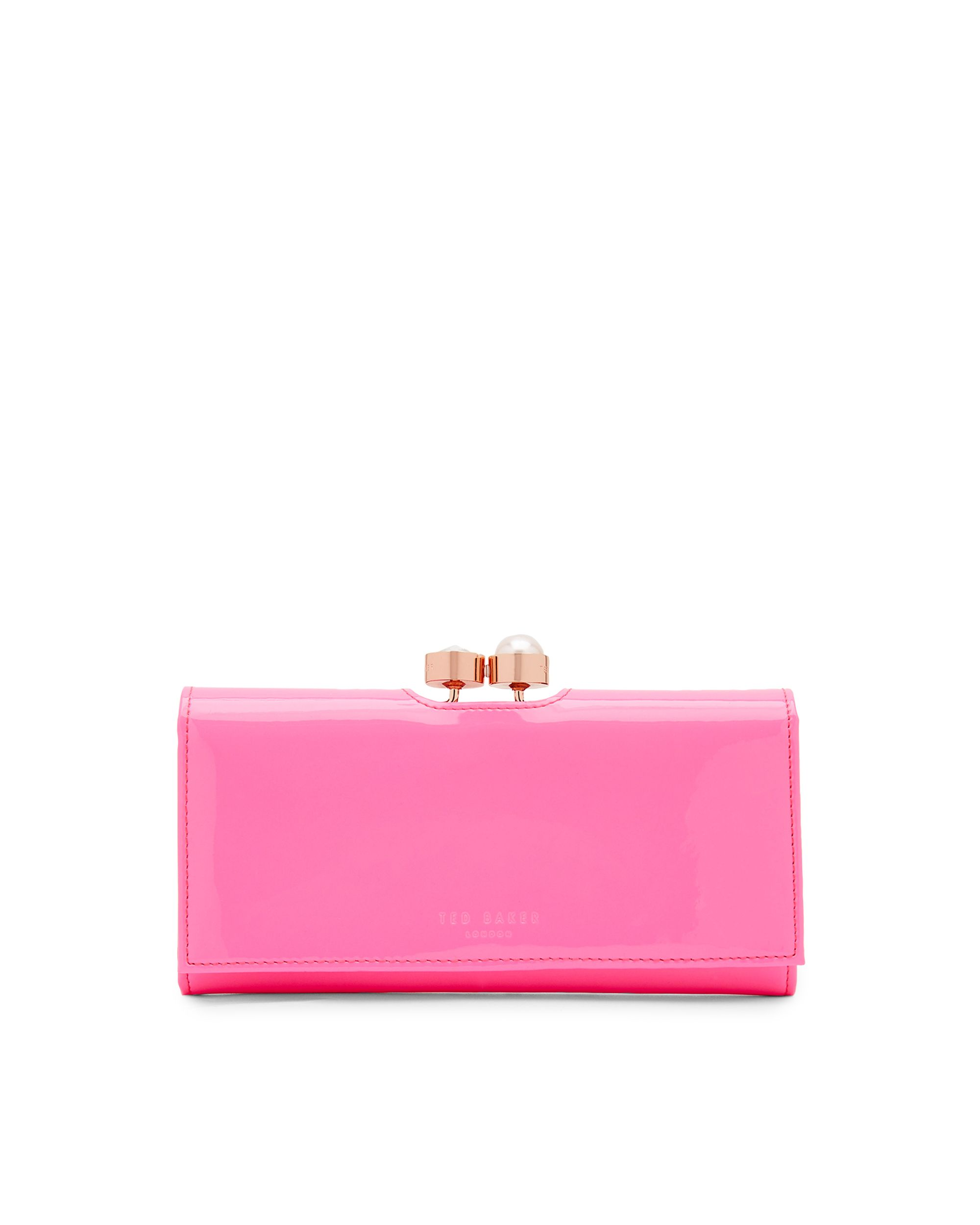 Ted Baker Cecilie Pearl and Crystal Bobble Leather Purse Pink