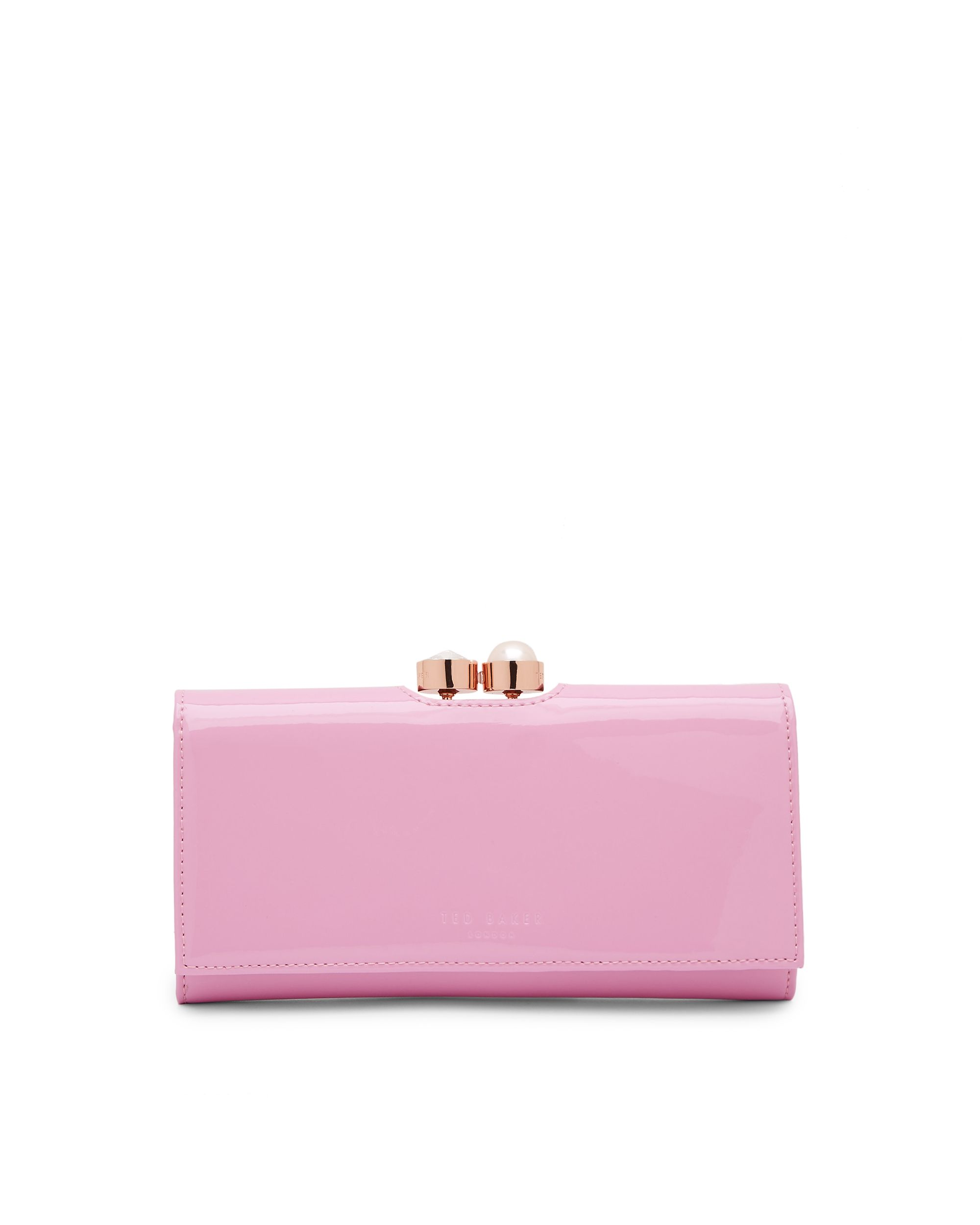 Ted Baker Cecilie Pearl and Crystal Bobble Leather Purse Pastel Pink