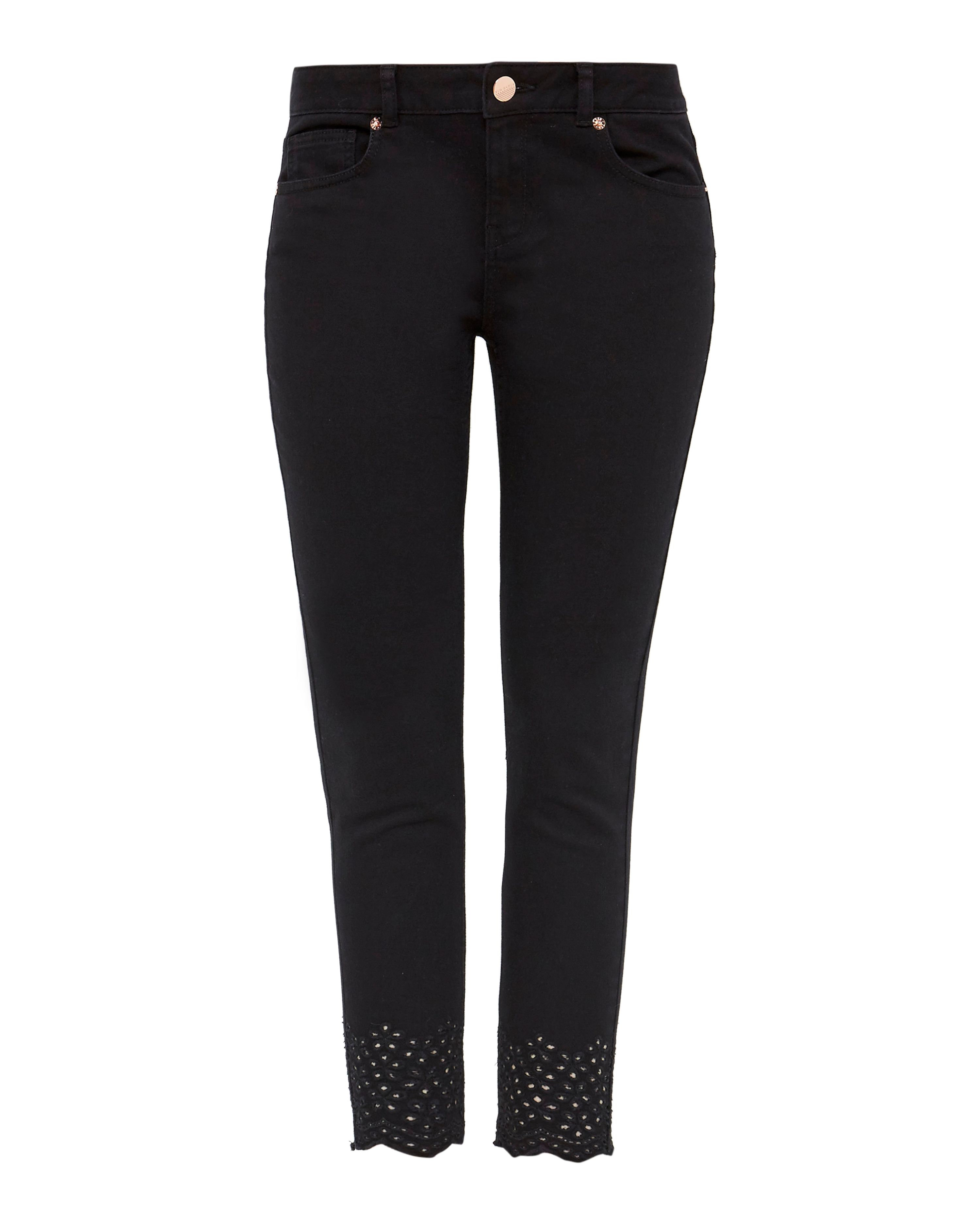 Ted Baker Massiee Embroidered Skinny Jeans Black