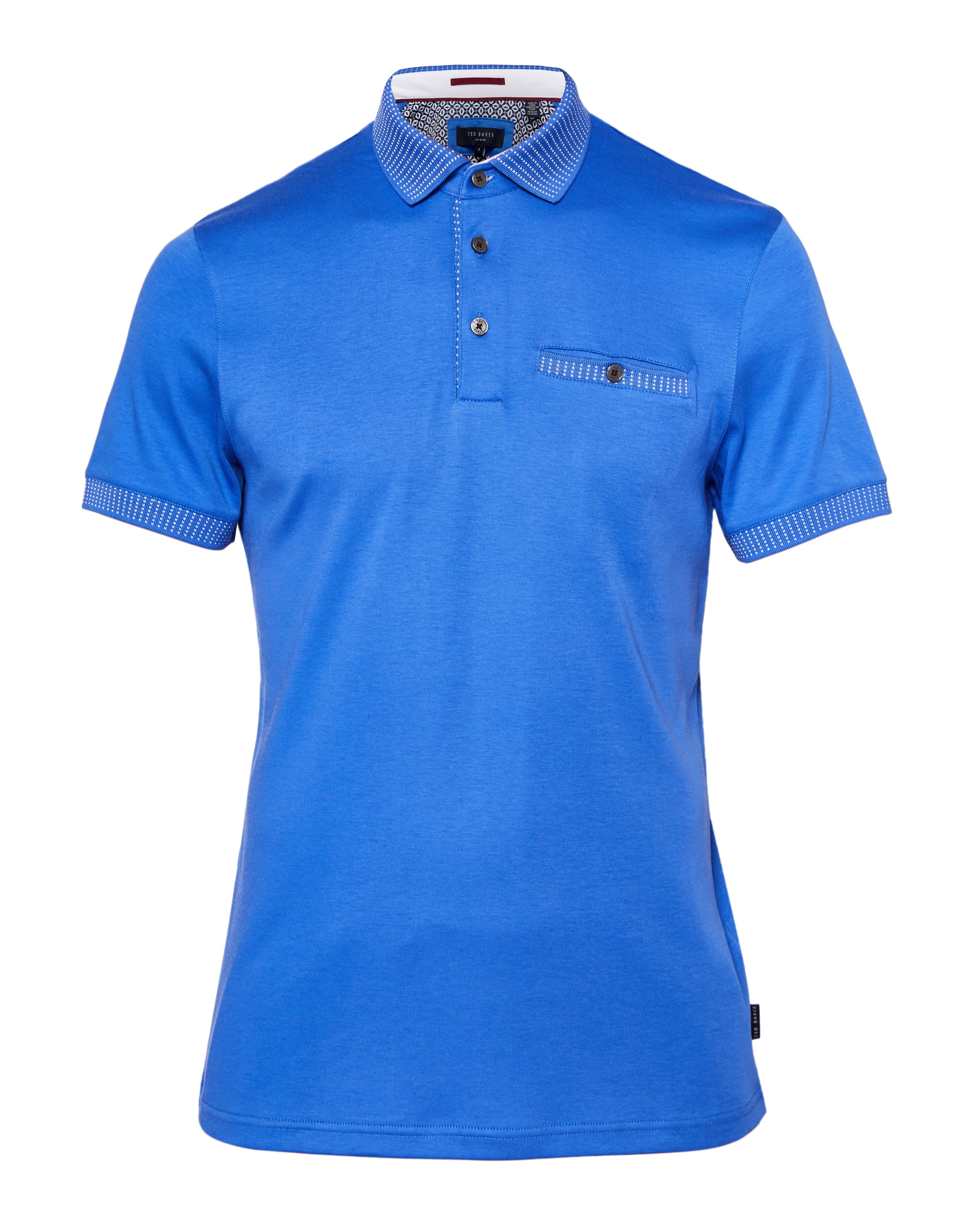 Men's Ted Baker Rickee Soft Solid Colour Polo Shirt, Blue