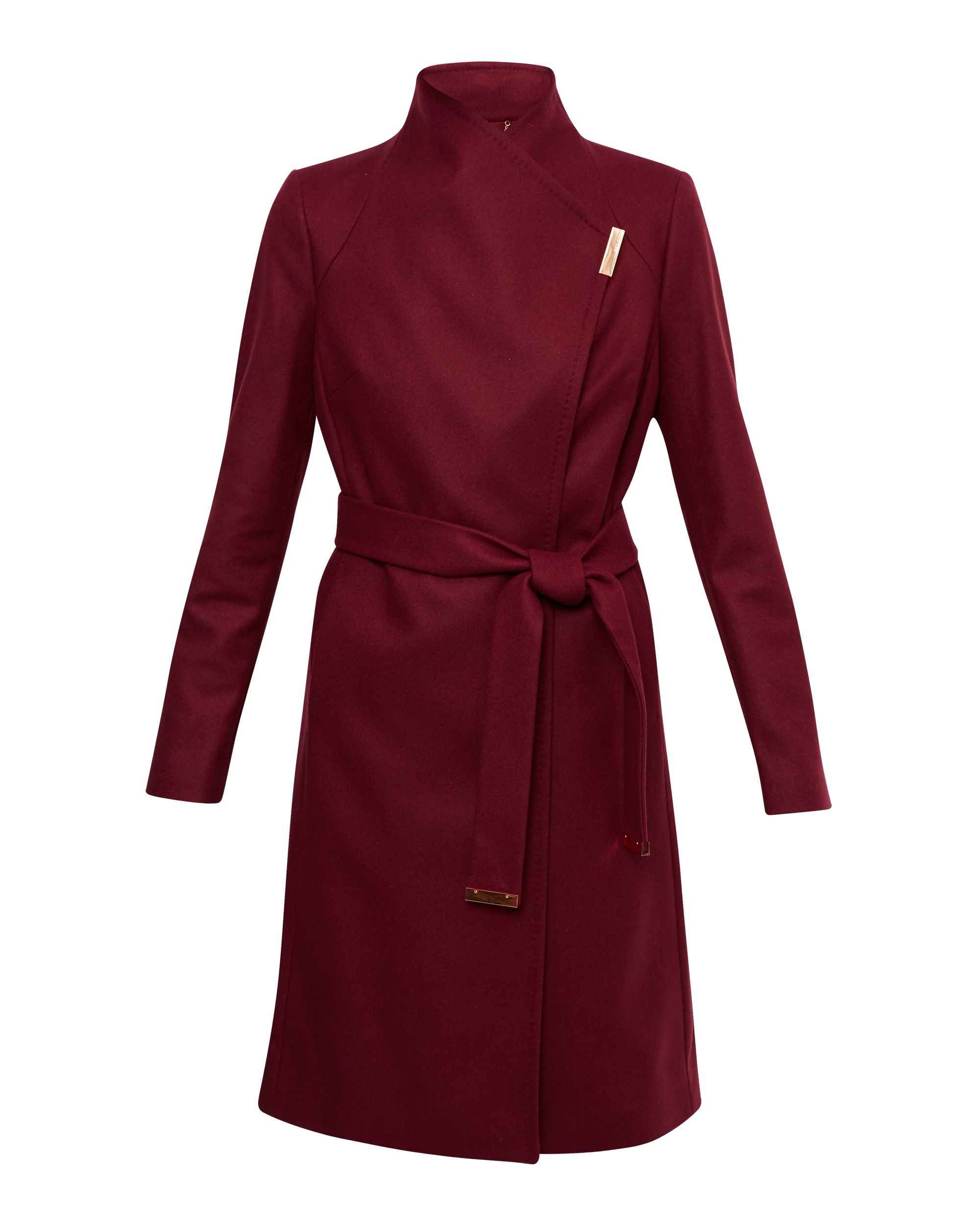 Ted Baker Fylio Magnetic Clasp Long Coat Red