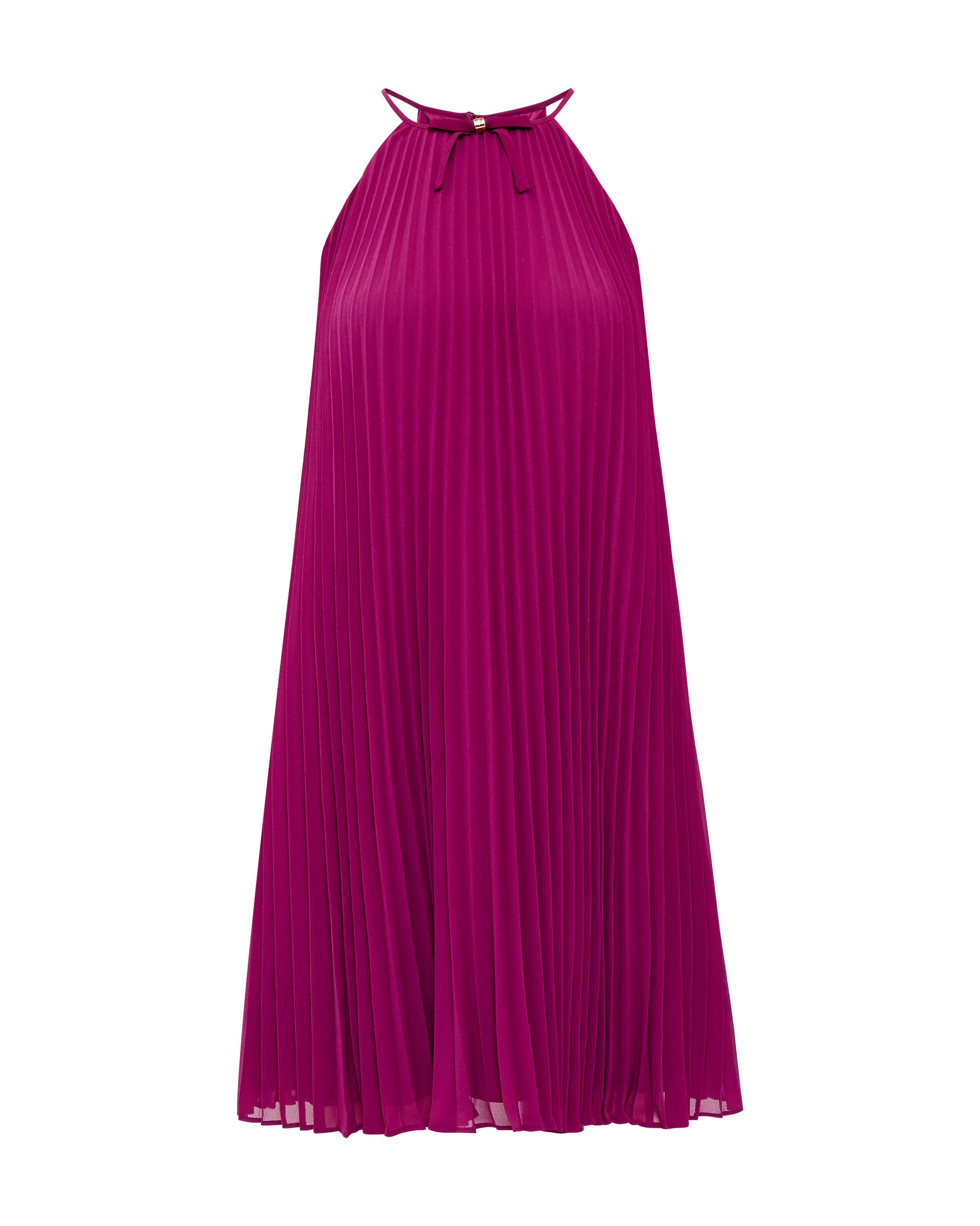 Ted Baker Emelay Bow Detail Pleated Dress, Purple