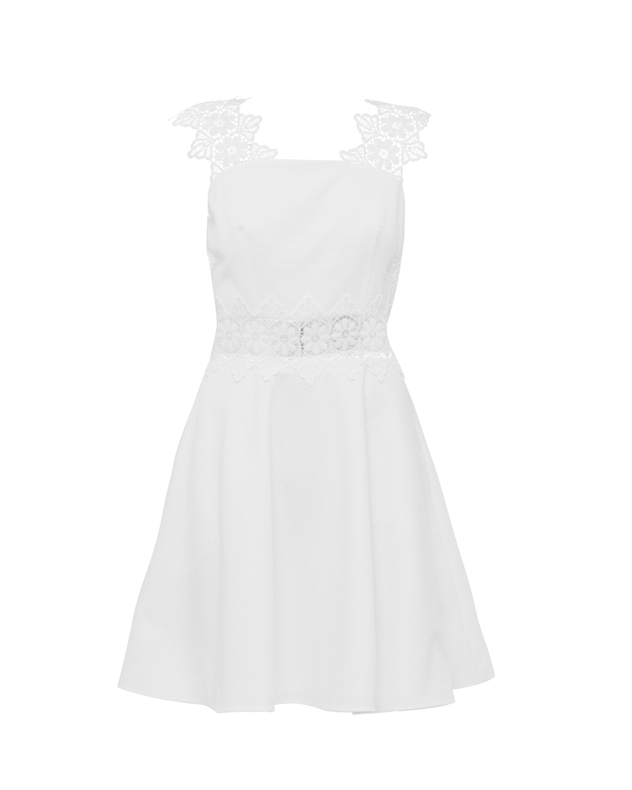 Ted Baker Monaa Lace Detail A Line Shift Dress, White