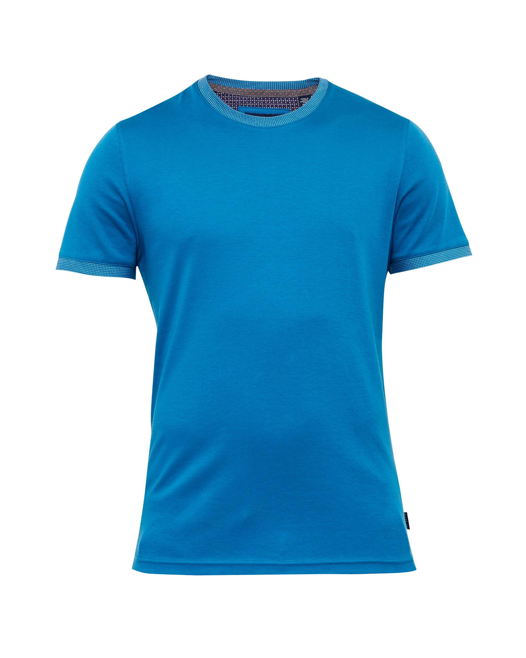 Mens Ted Baker Pik Crew Neck Cotton TShirt Bright Blue