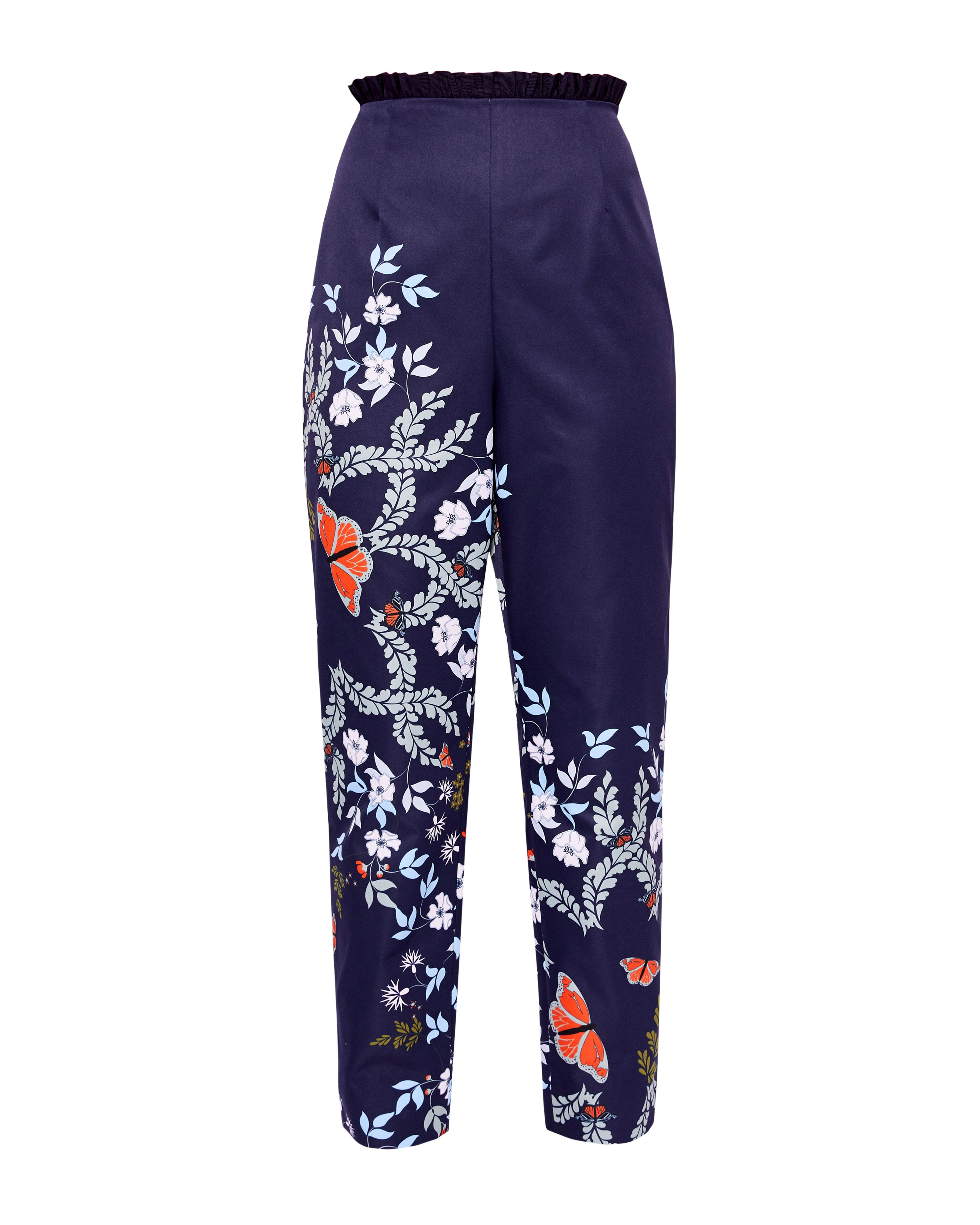 Ted Baker Leonna Kyoto Gardens Tapered Trousers, Mid Blue