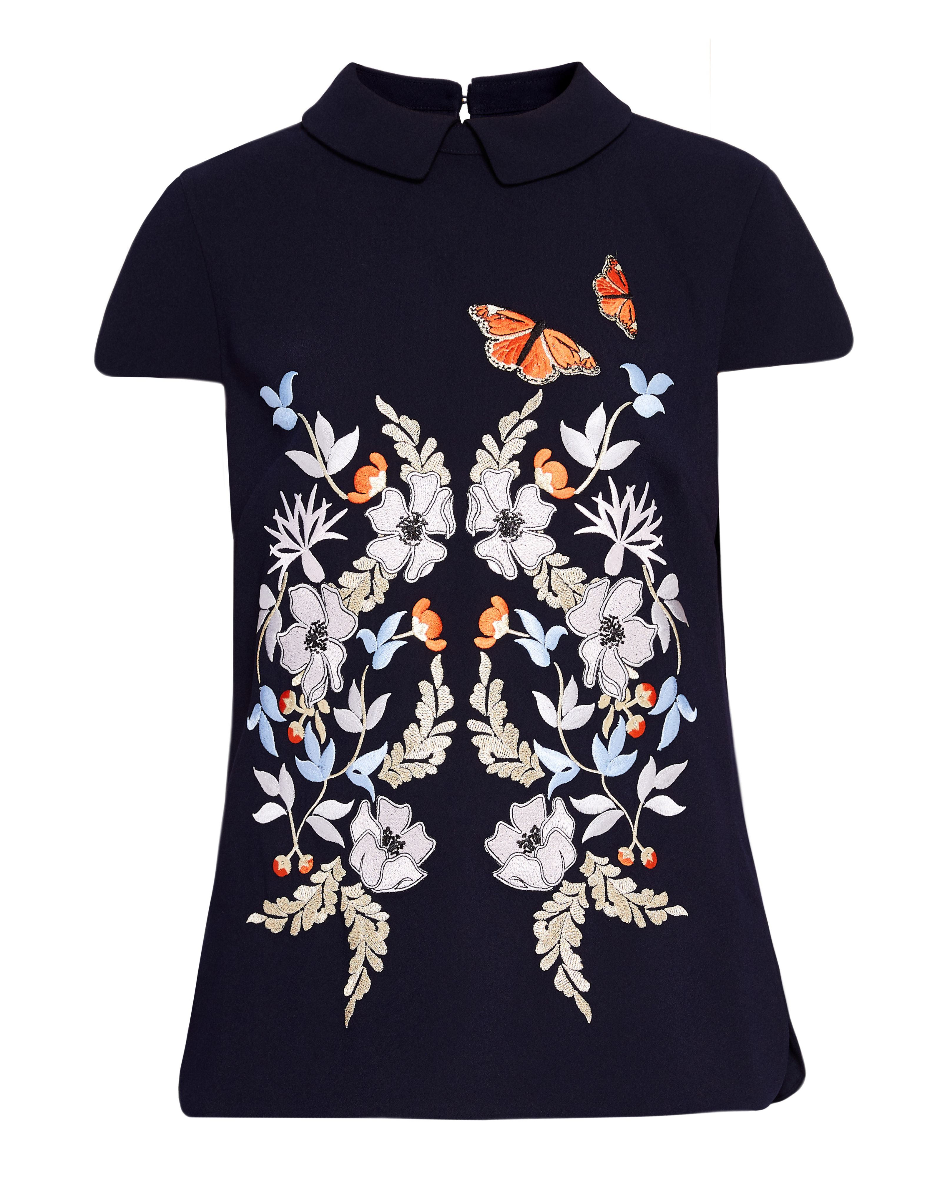 Ted Baker Enora Kyoto Gardens Embroidered Top, Mid Blue